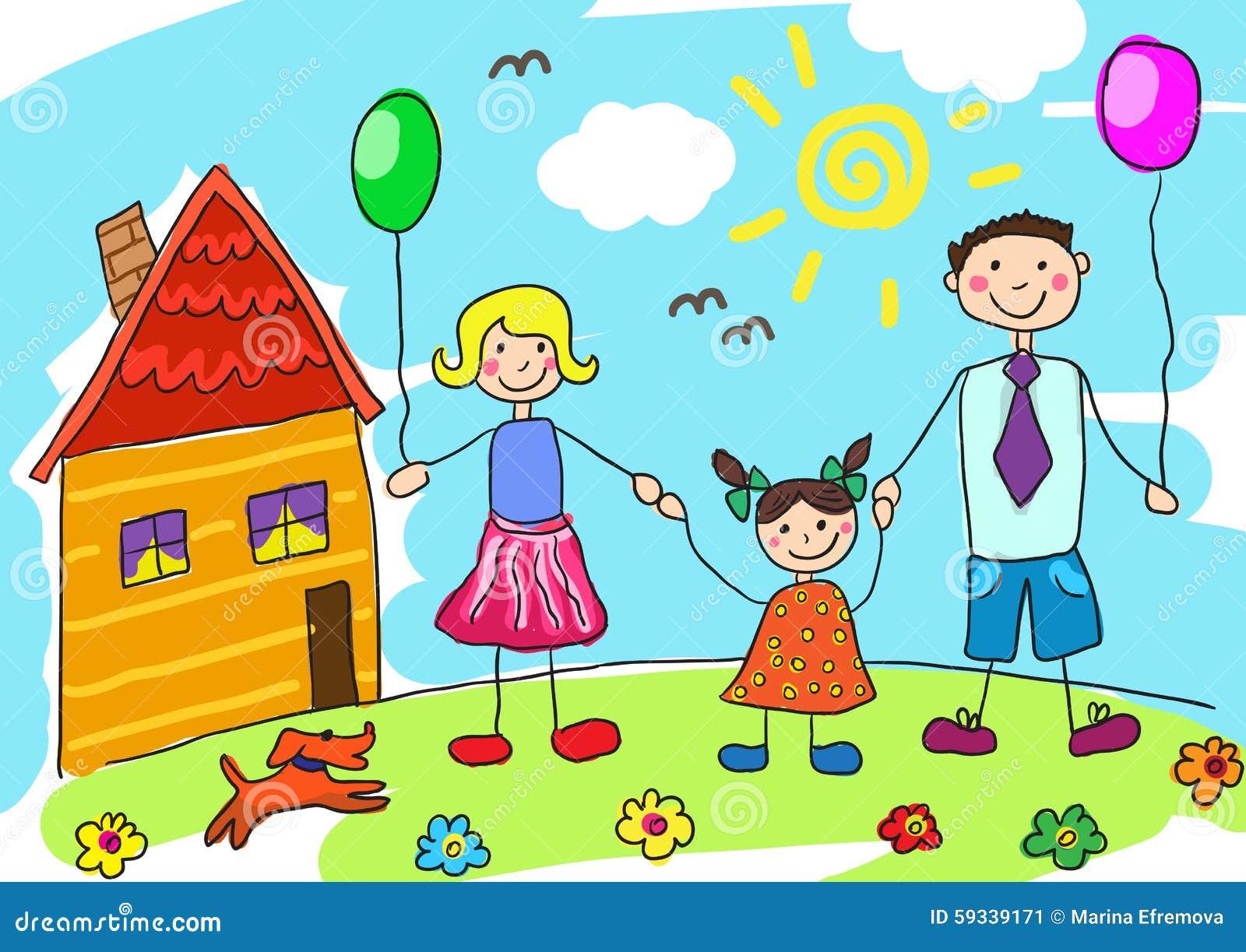 Famiglia felice del disegno del bambino con il cane padre for Casa disegno