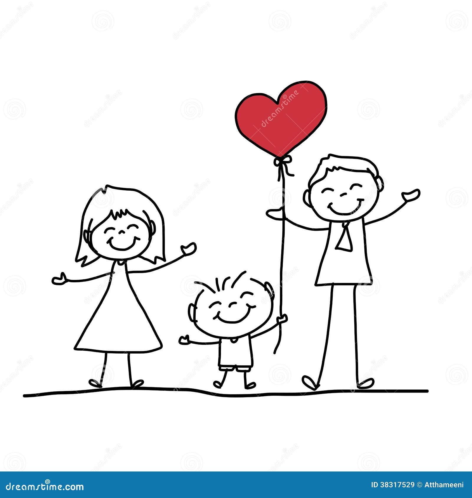 Famiglia felice del fumetto disegno della mano