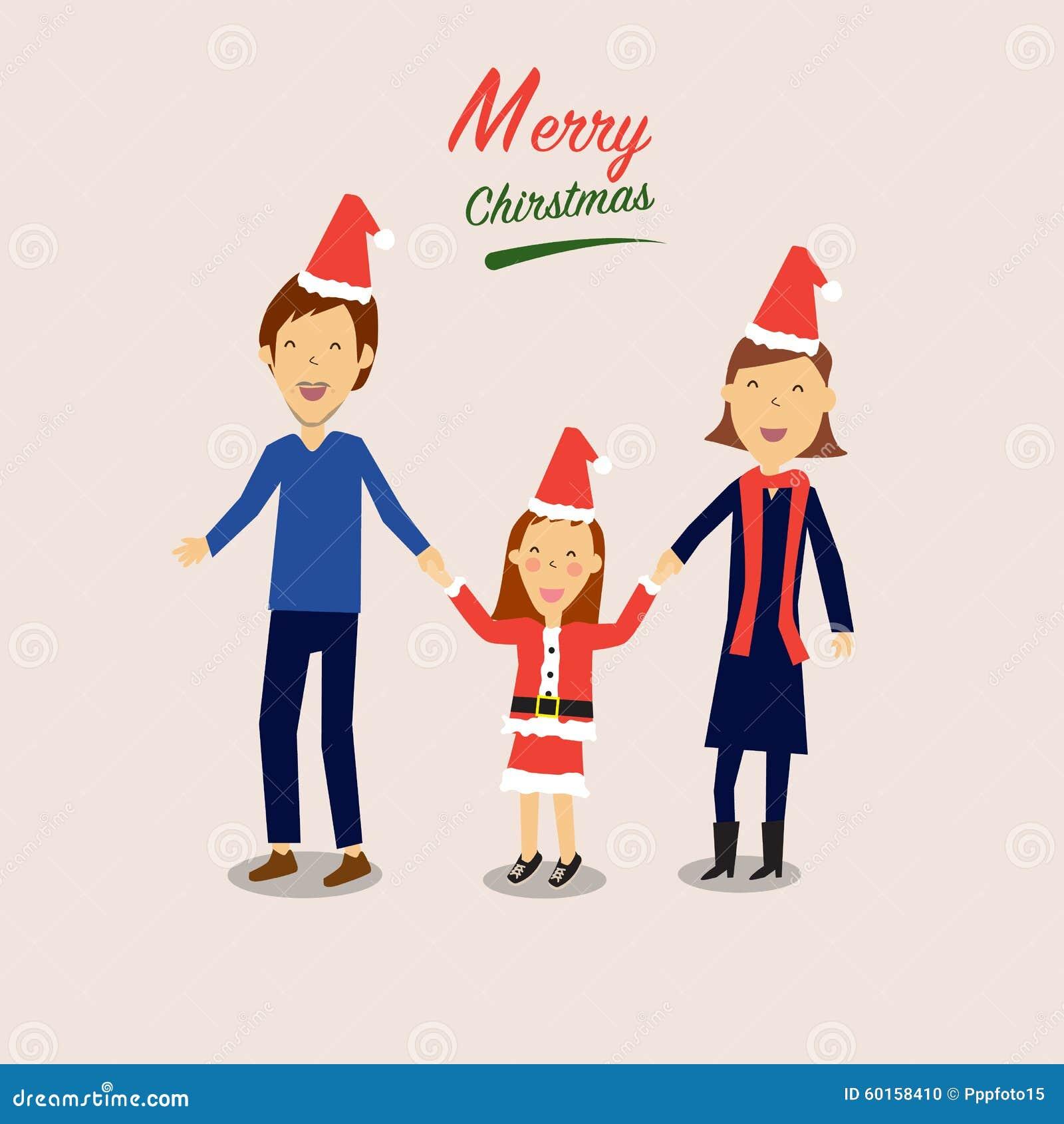 Buon Natale Famiglia.Famiglia Felice Per Il Buon Natale Illustrazione Vettoriale