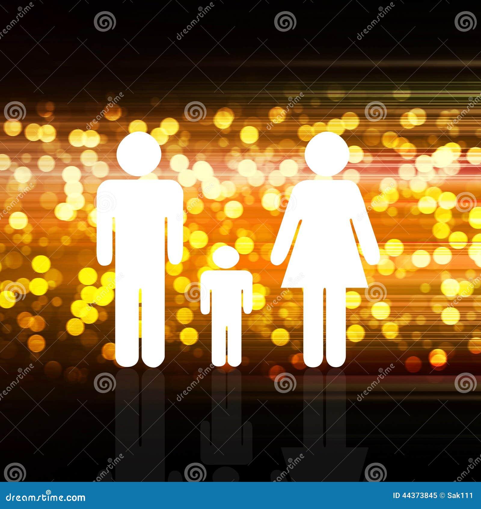 Famiglia su elegante variopinto astratto su fondo astratto