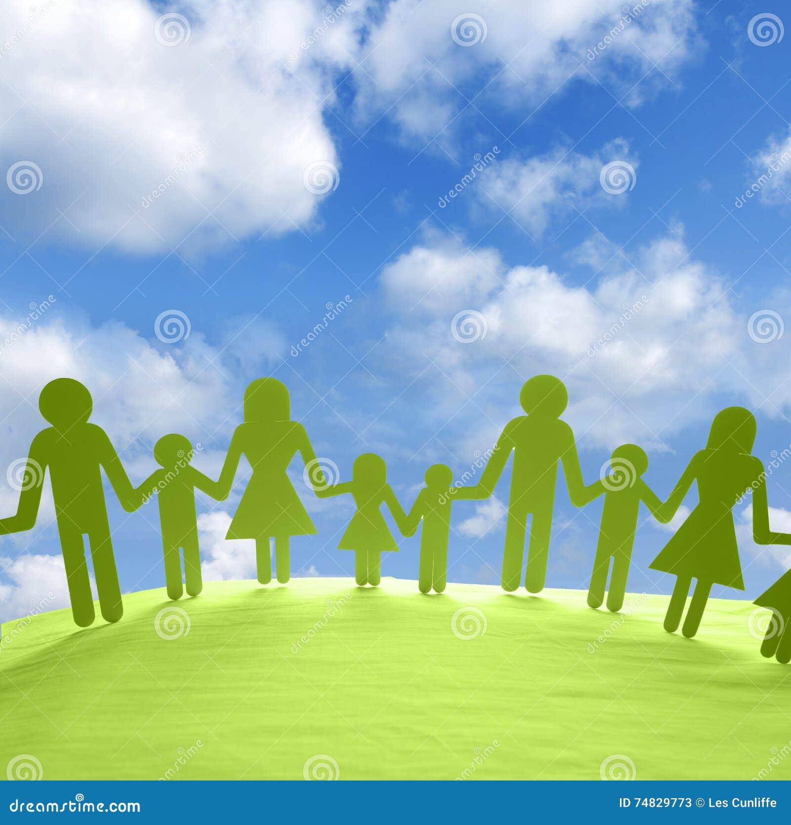 Famiglia Unita Immagine Stock Immagine Di Bambini Cielo 74829773