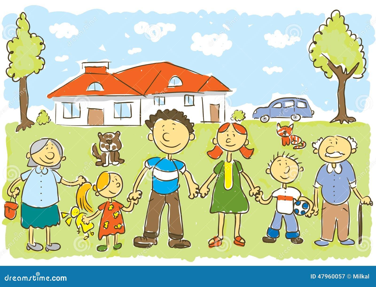 Vector Feliz Viaje Familia: Familia Ilustración Del Vector