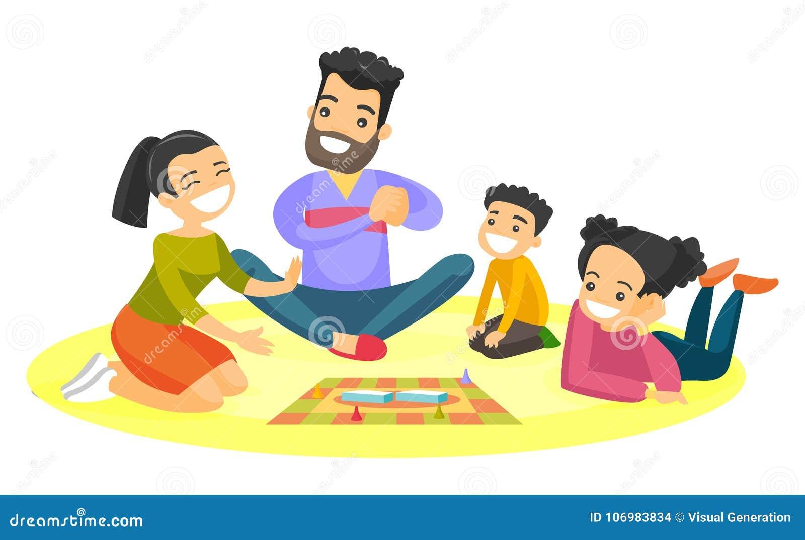 Familia Blanca Caucasica Joven Que Juega Al Juego De Mesa