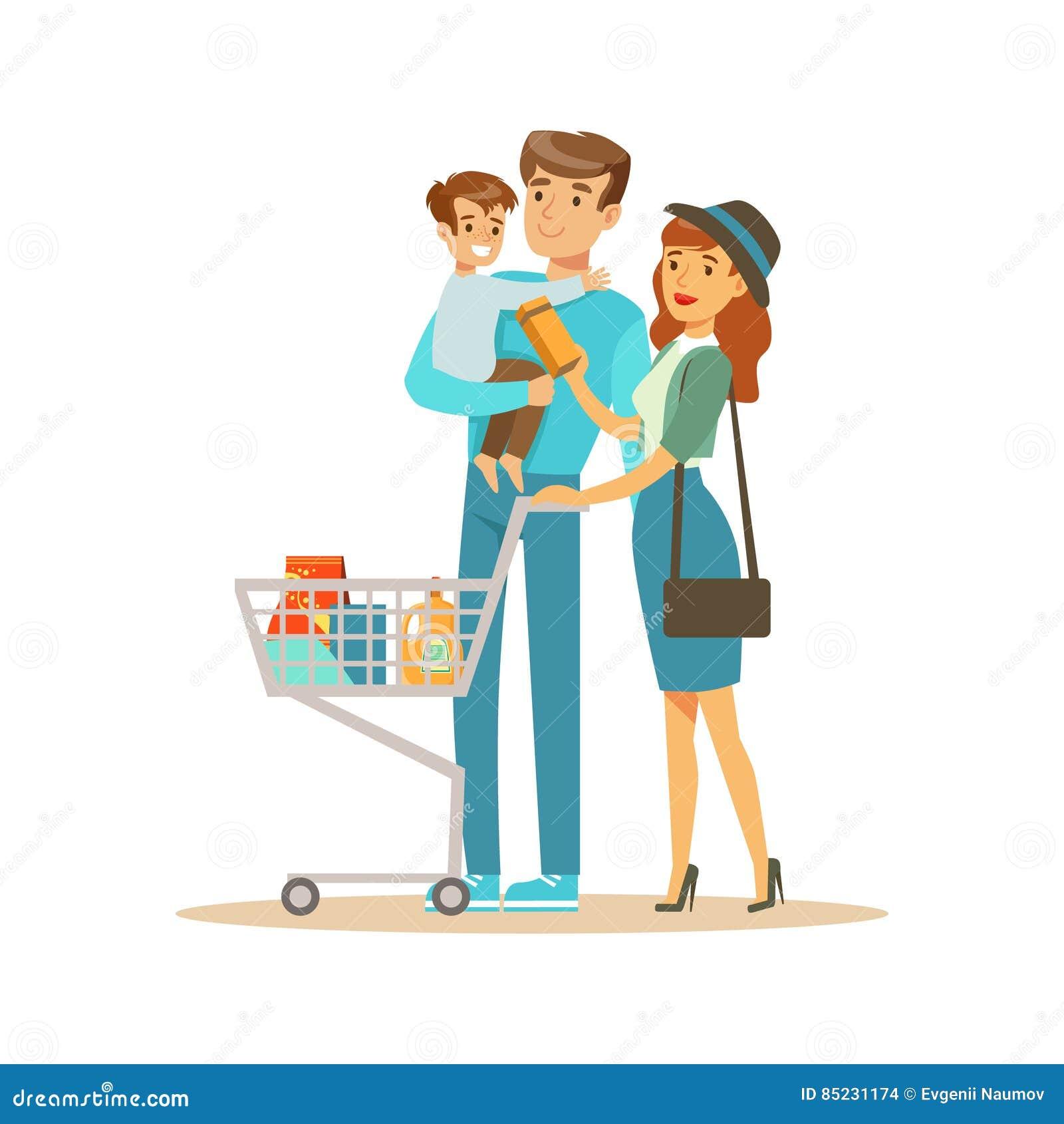 Familia Blanca Con Las Compras En Grandes Almacenes Cosas