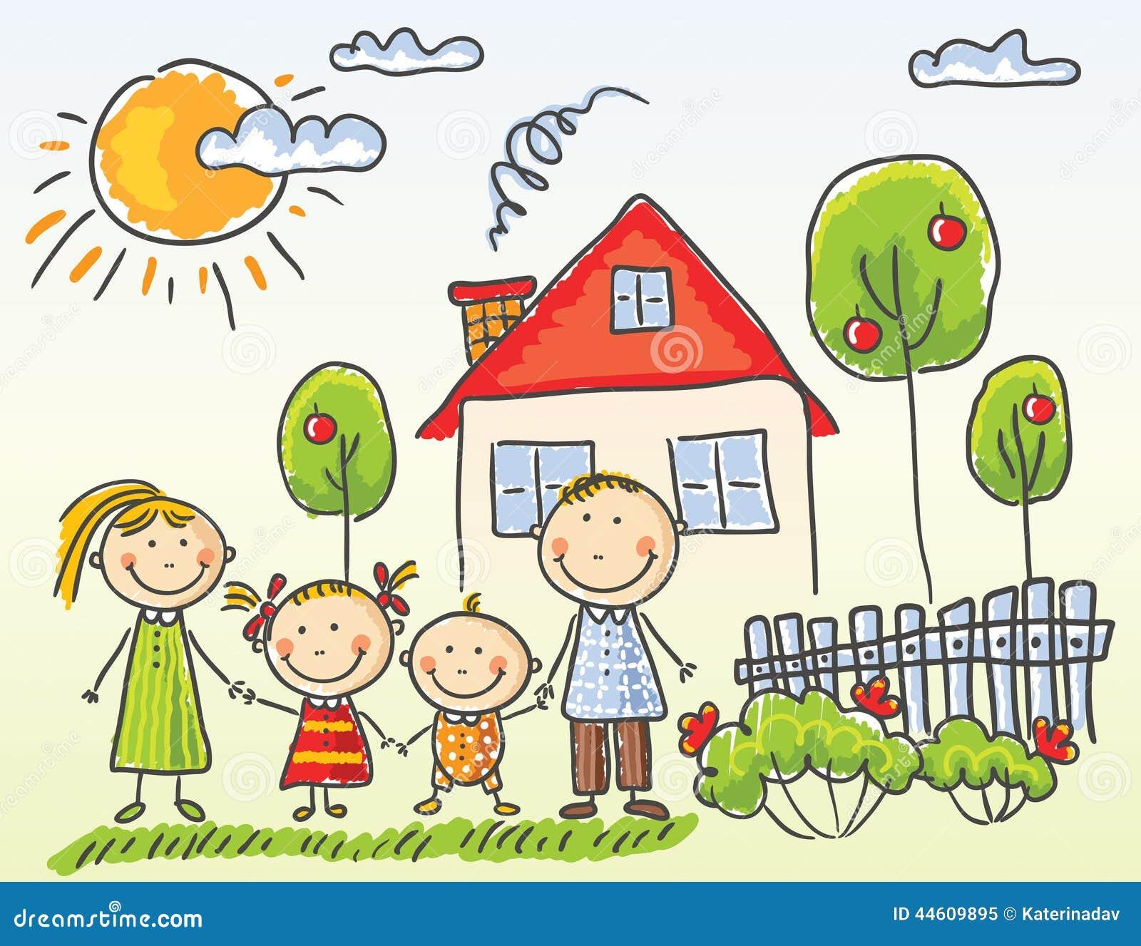 Familia cerca de su casa ilustraci n del vector imagen for Para su casa