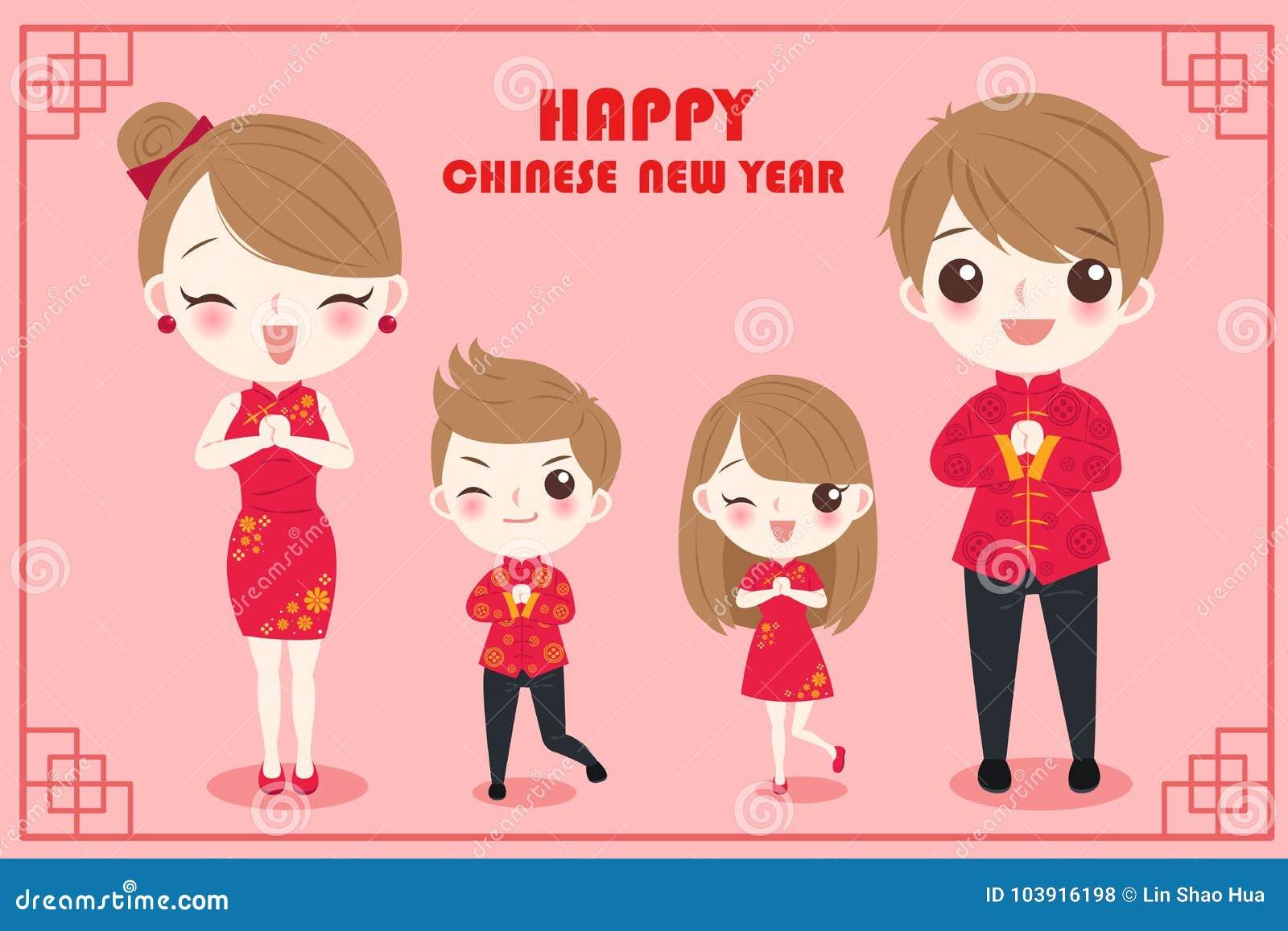 Familia con Año Nuevo chino