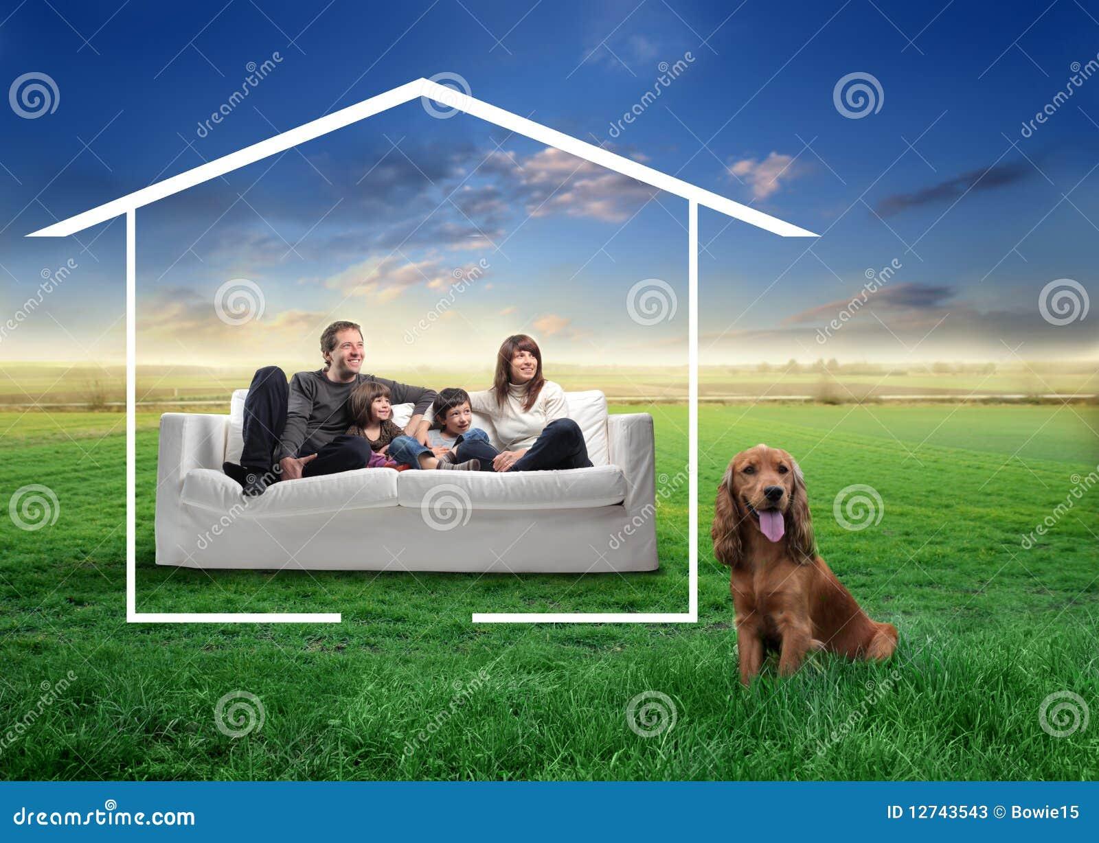 Familia con el animal doméstico