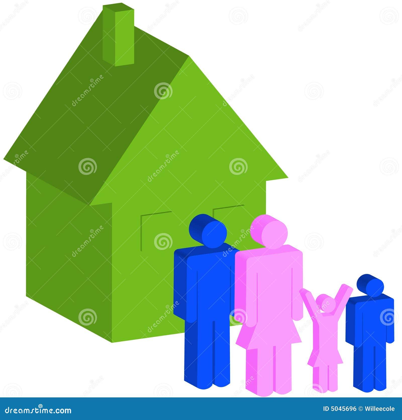 Familia de cuatro miembros con la casa
