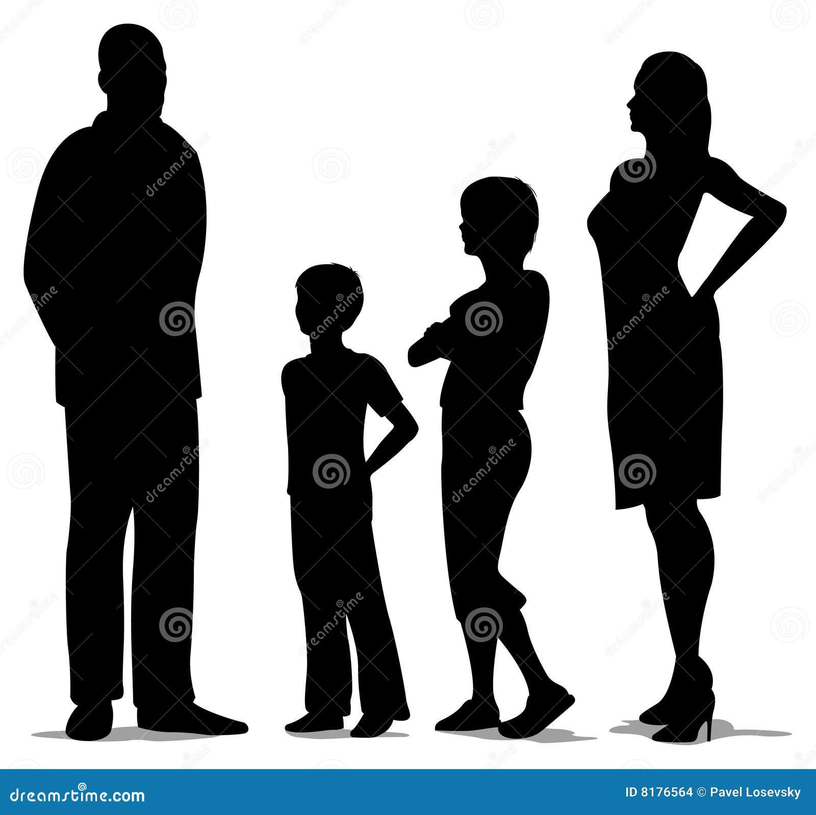 Familia de cuatro miembros derecha, silueta