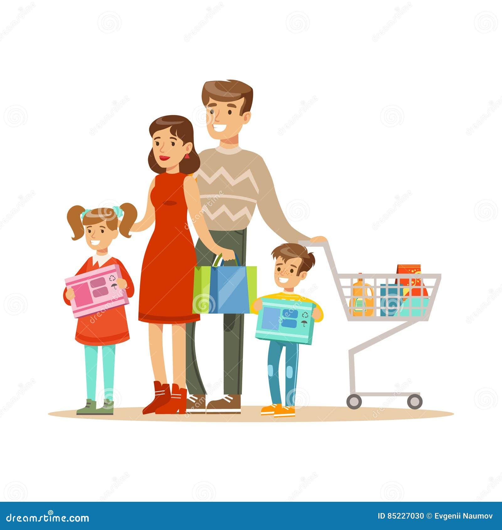 Familia de cuatro miembros Ejemplo colorido del vector con la gente feliz en supermercado