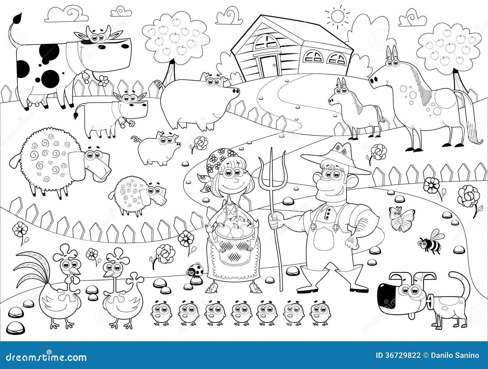 Familia de la granja divertida en blanco y negro - Familias en blanco y negro ...