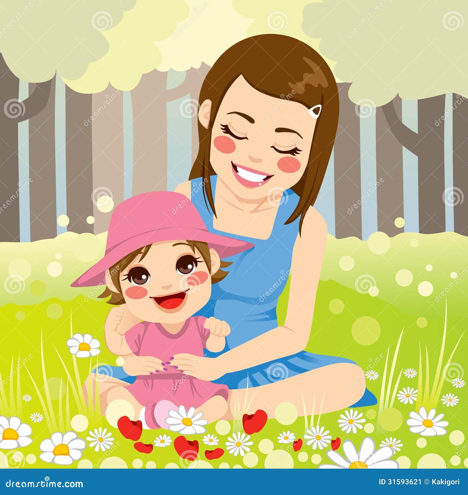 ... disfruta de la naturaleza con su pequeña hija adorable en el parque