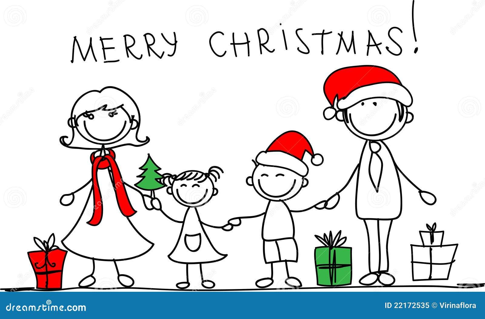 Vector Feliz Viaje Familia: Familia De La Navidad, Vector Foto De Archivo Libre De