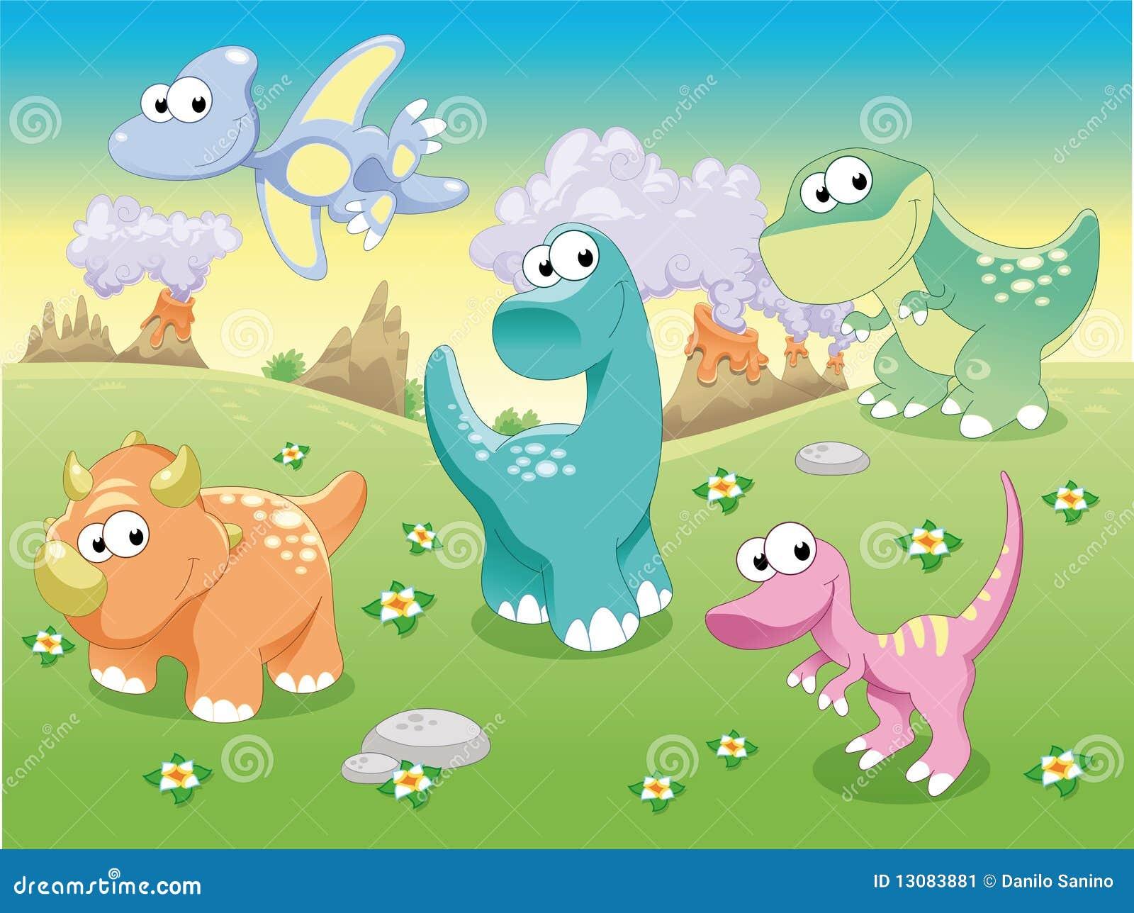 Familia de los dinosaurios con el fondo.