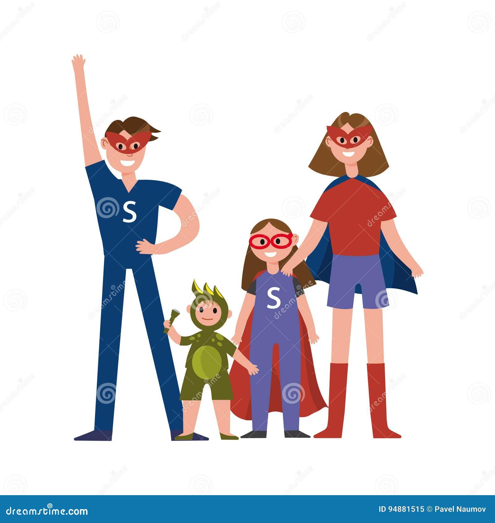 Familia De Los Personajes De Dibujos Animados De Los Super Héroes, Padres  Con Sus Niños En Trajes De Los Super Héroes Que Tienen Ilustración del  Vector - Ilustración de familia, animados: 94881515