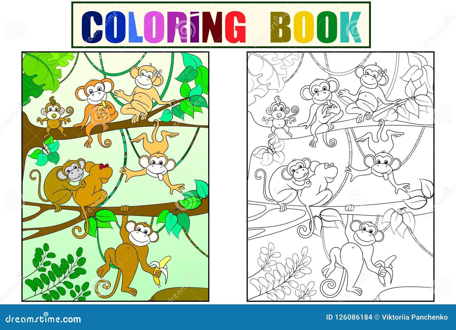 Familia De Monos En Un Libro Del Color Del árbol Para La Trama De La
