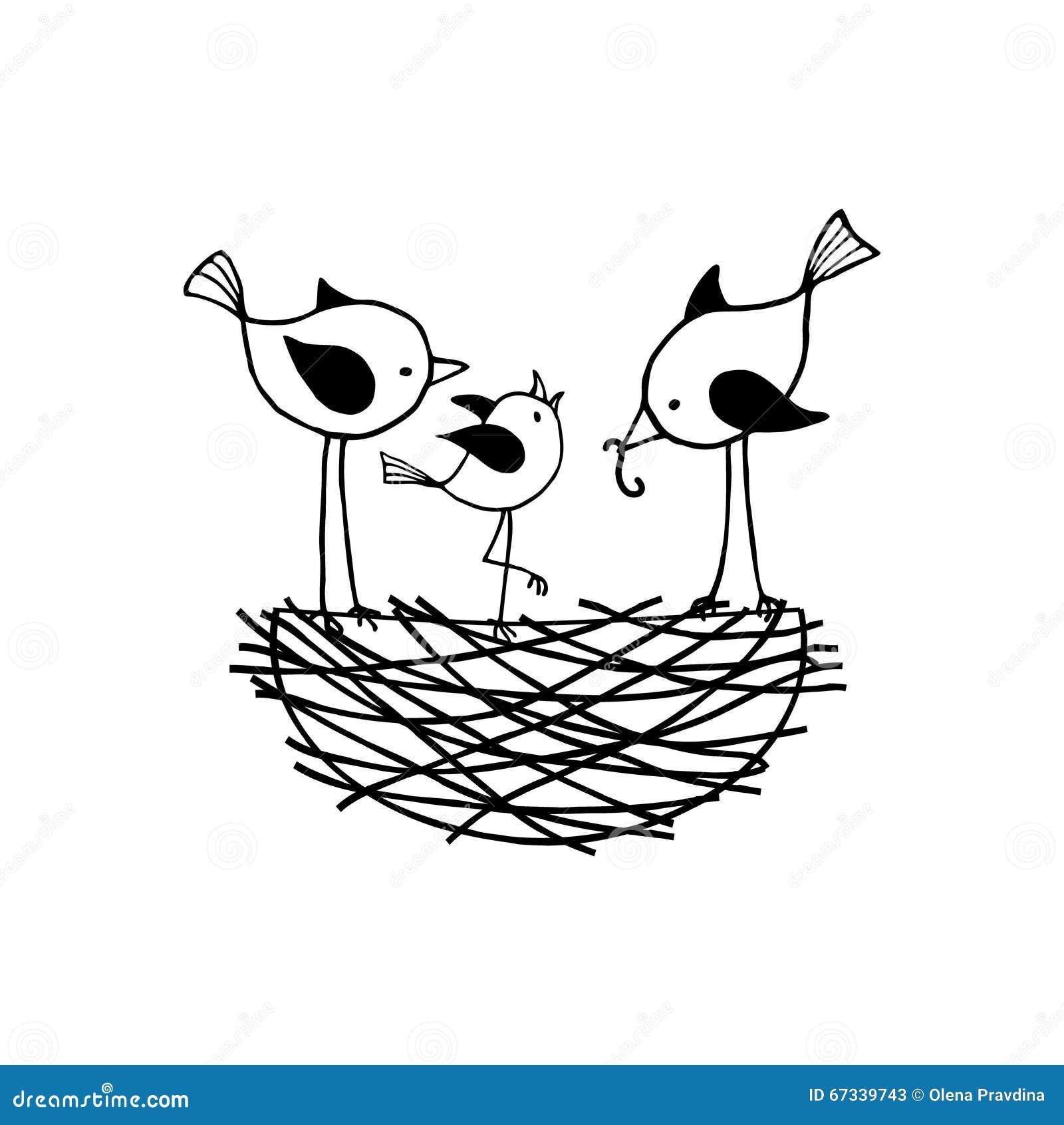 Familia de pájaros en la jerarquía