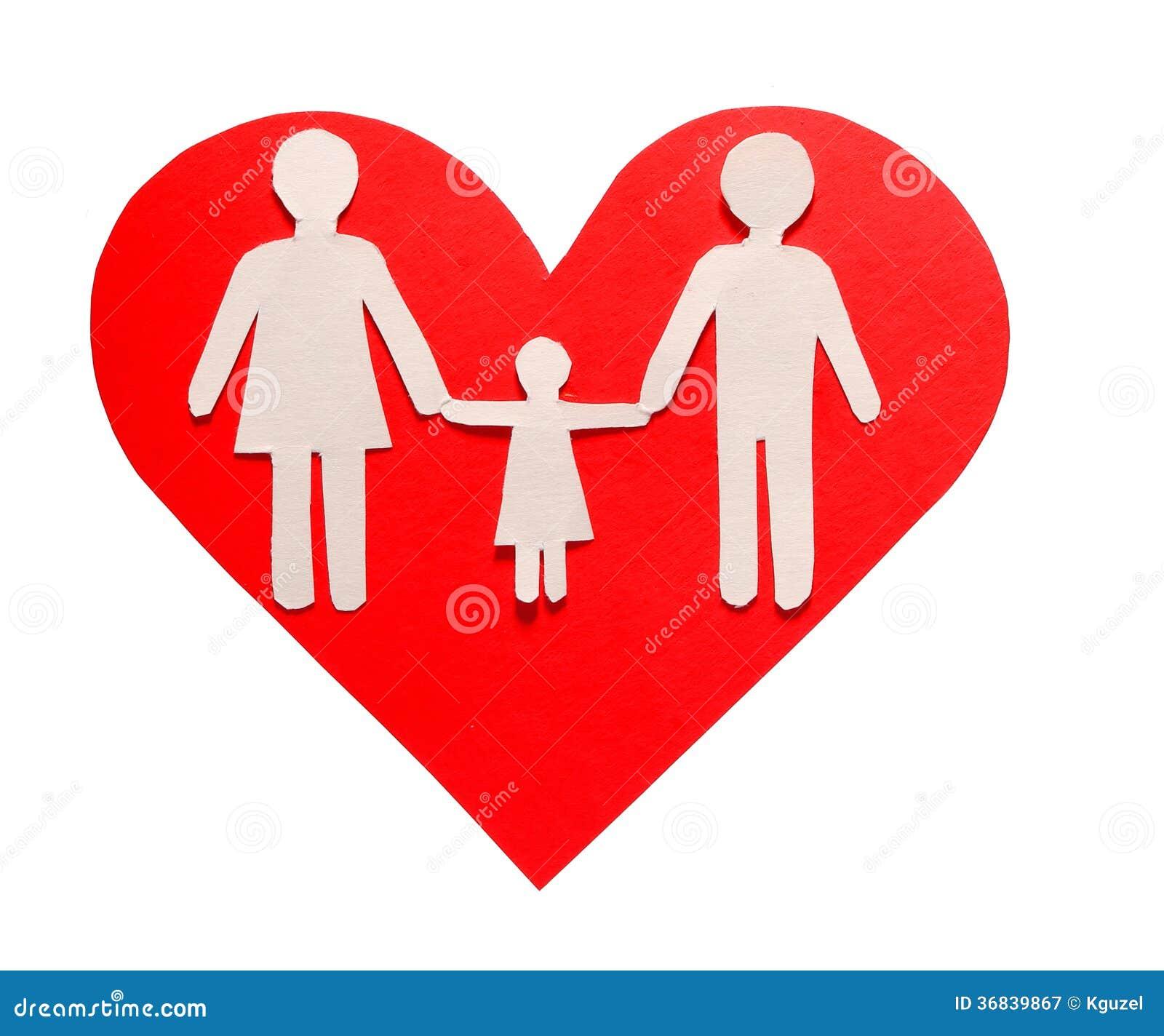 Concepto Del Amor Y De Familia Familia De Papel En El Corazón Rojo