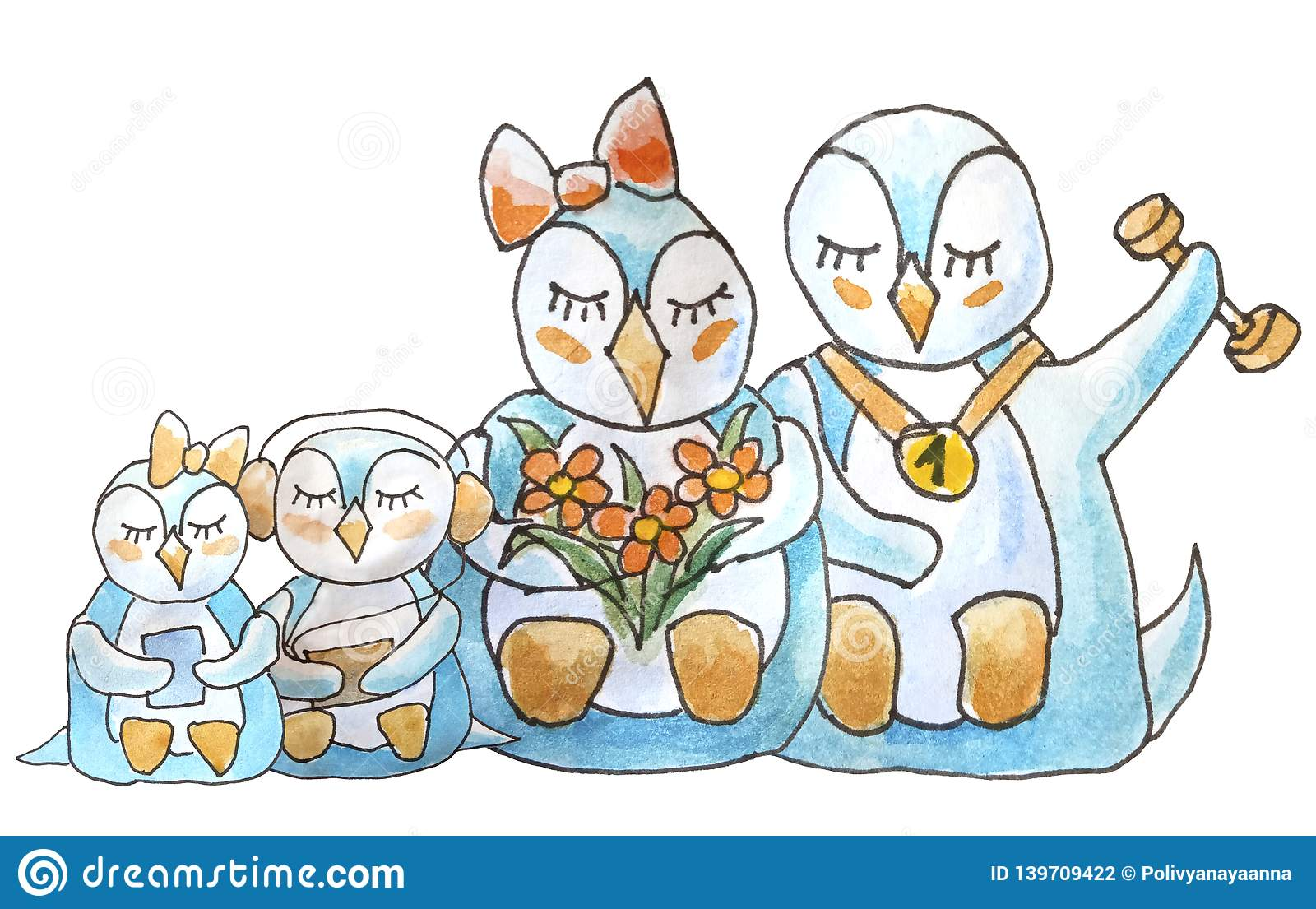 Familia de pingüinos en el fondo blanco