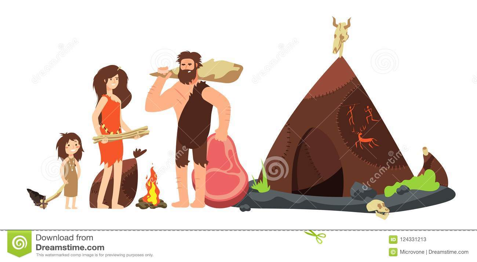 Familia del hombre de las cavernas de la historieta Cazadores y niños del Neanderthal prehistóricos Ejemplo antiguo del vector de