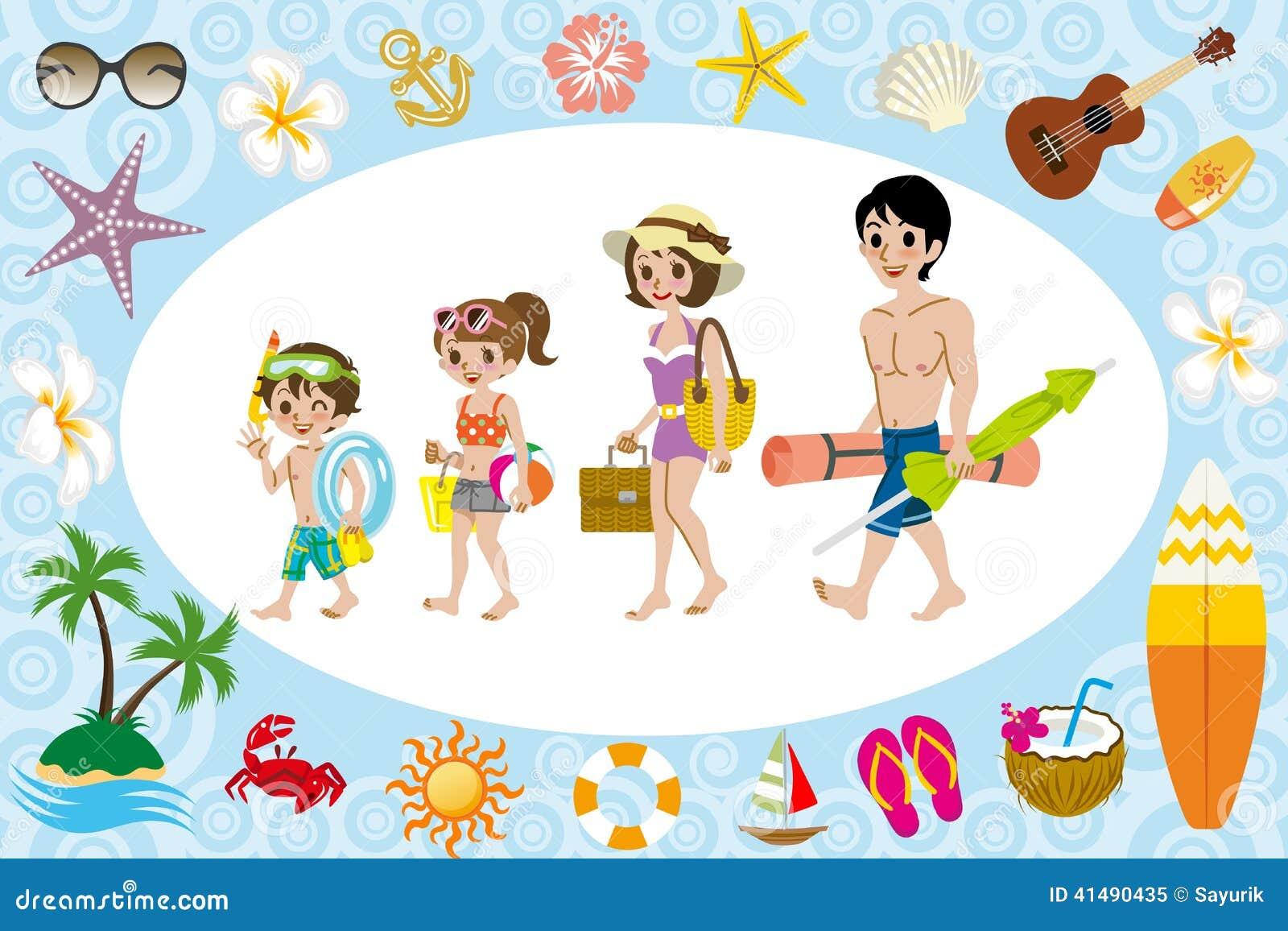 Familia Del Traje De Baño E Icono Del Mar Ilustración
