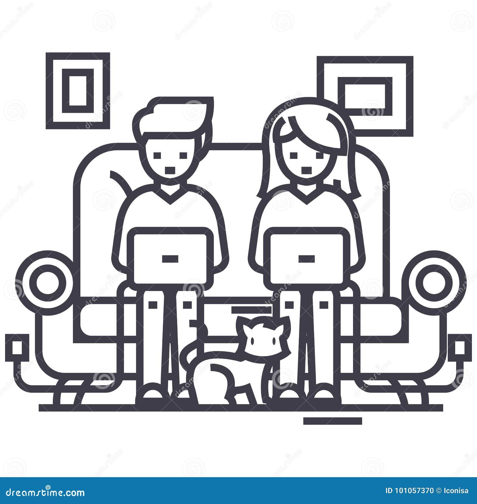 Familia en el sofá que trabaja en los ordenadores portátiles con la línea icono, muestra, ejemplo del vector del gato en el fondo