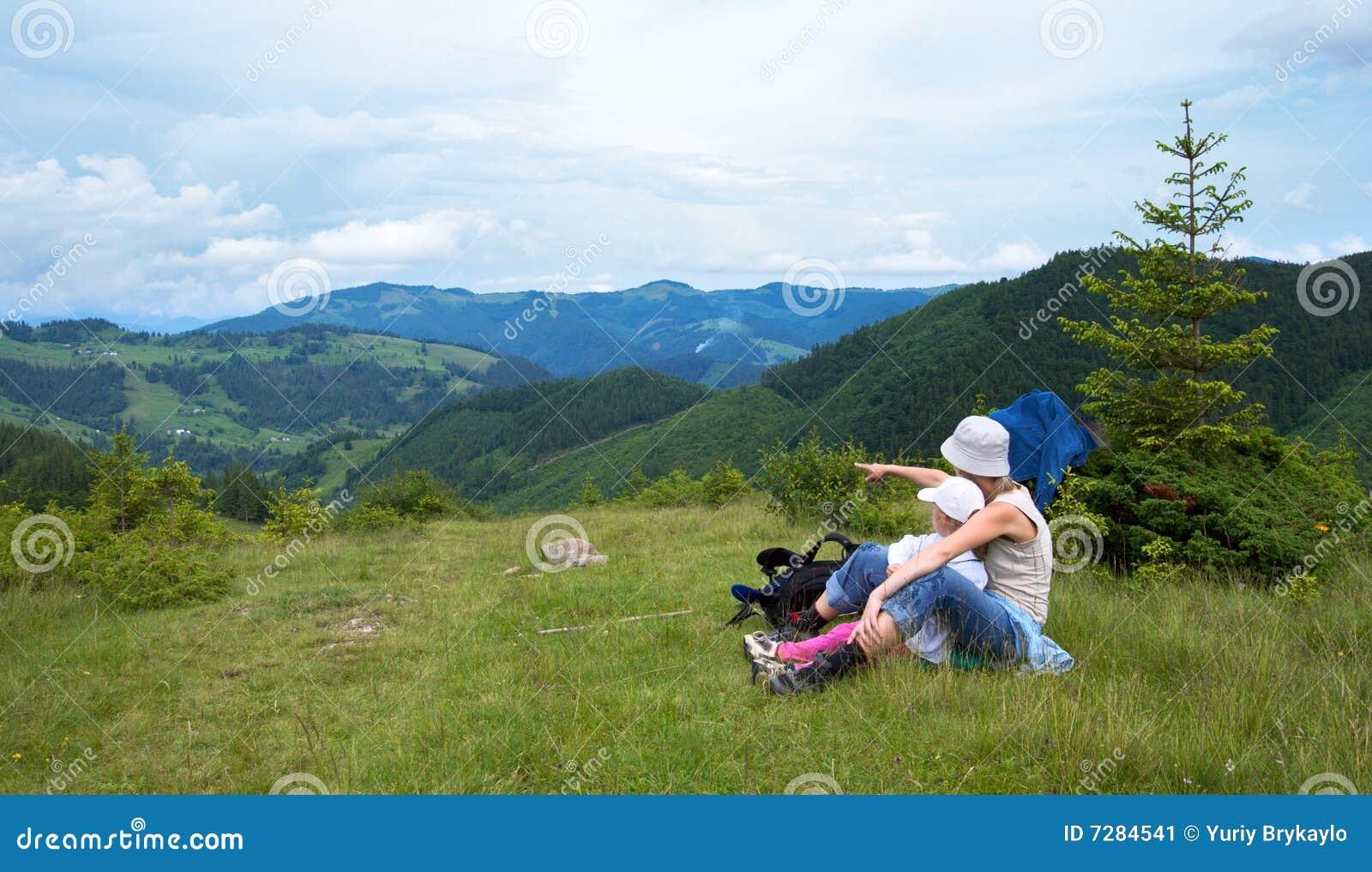 Familia en montaña