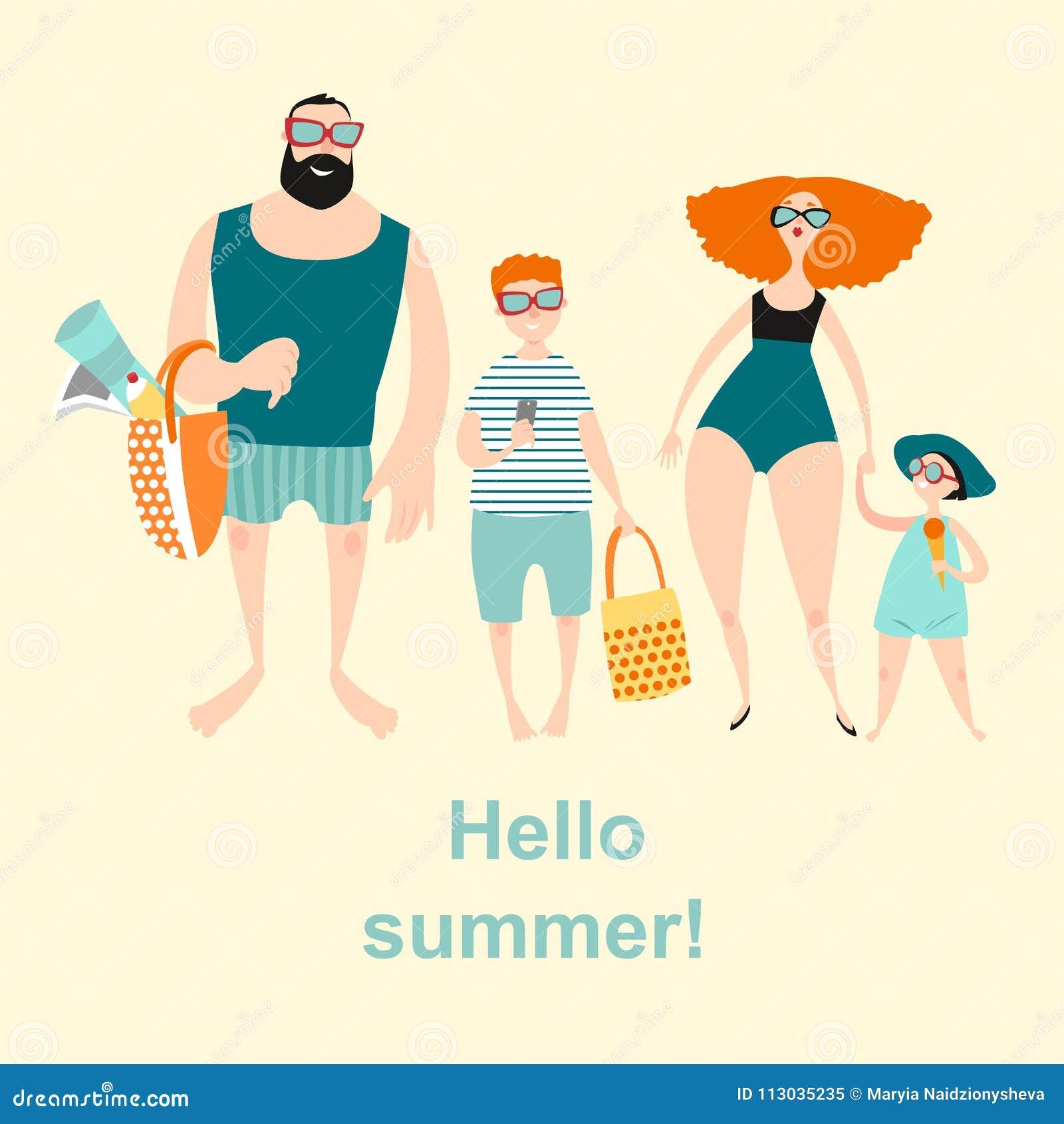 Familia feliz con dos niños en la playa Gente en trajes de baño y pantalones cortos
