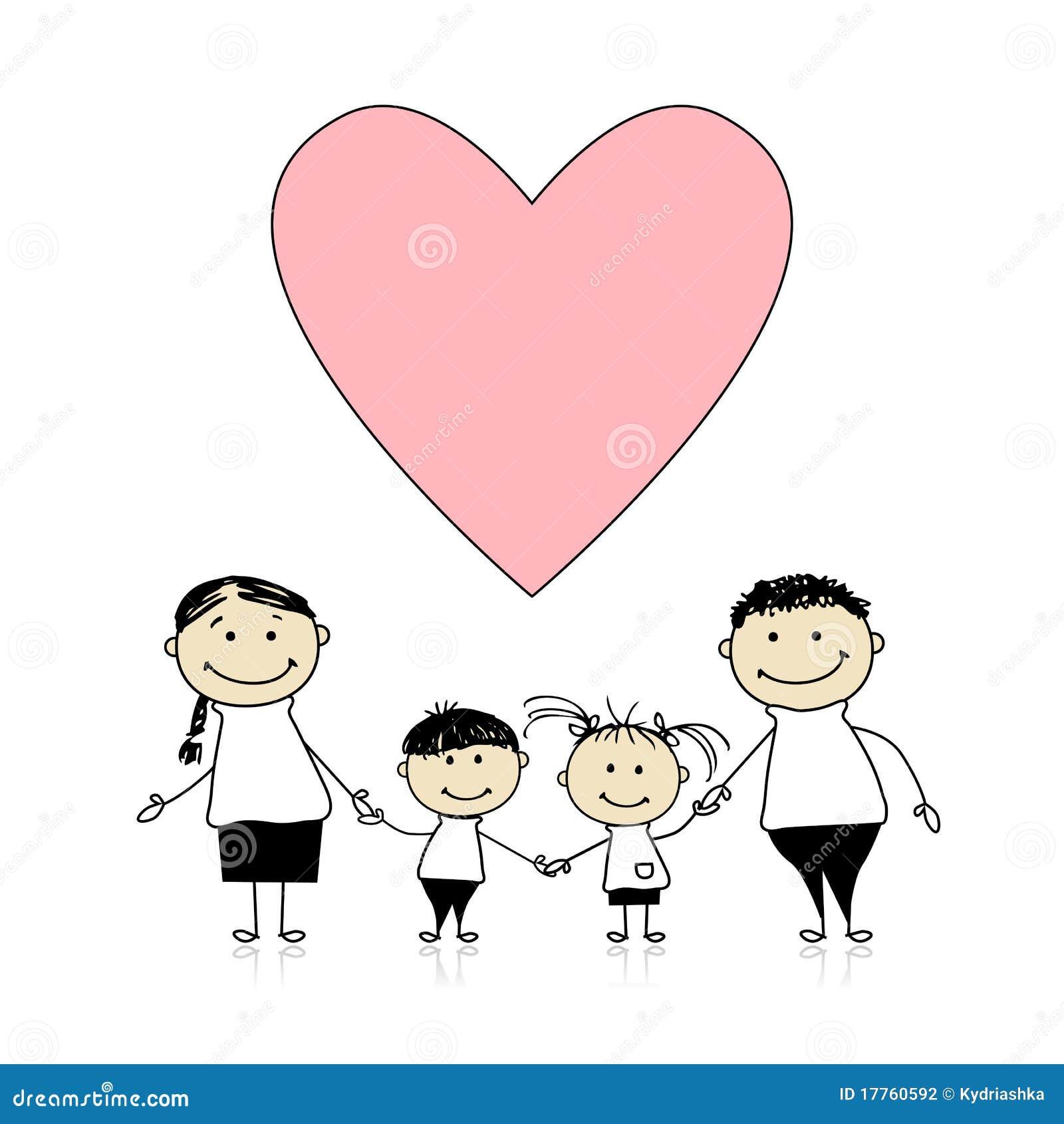 Familia Feliz Con El Amor Bosquejo De Drenaje Ilustración Del