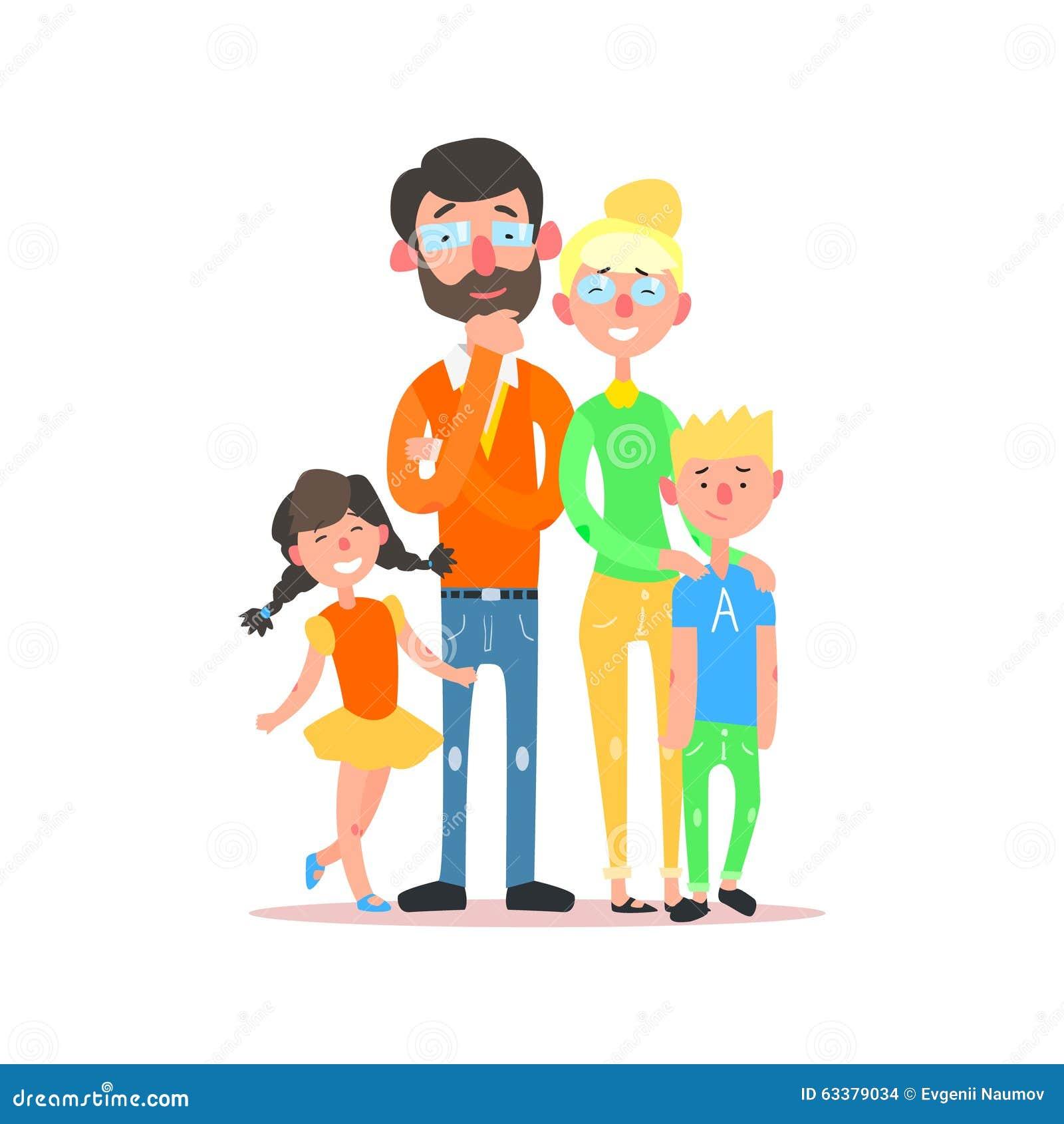 Familia feliz con los padres que llevan los vidrios Vector
