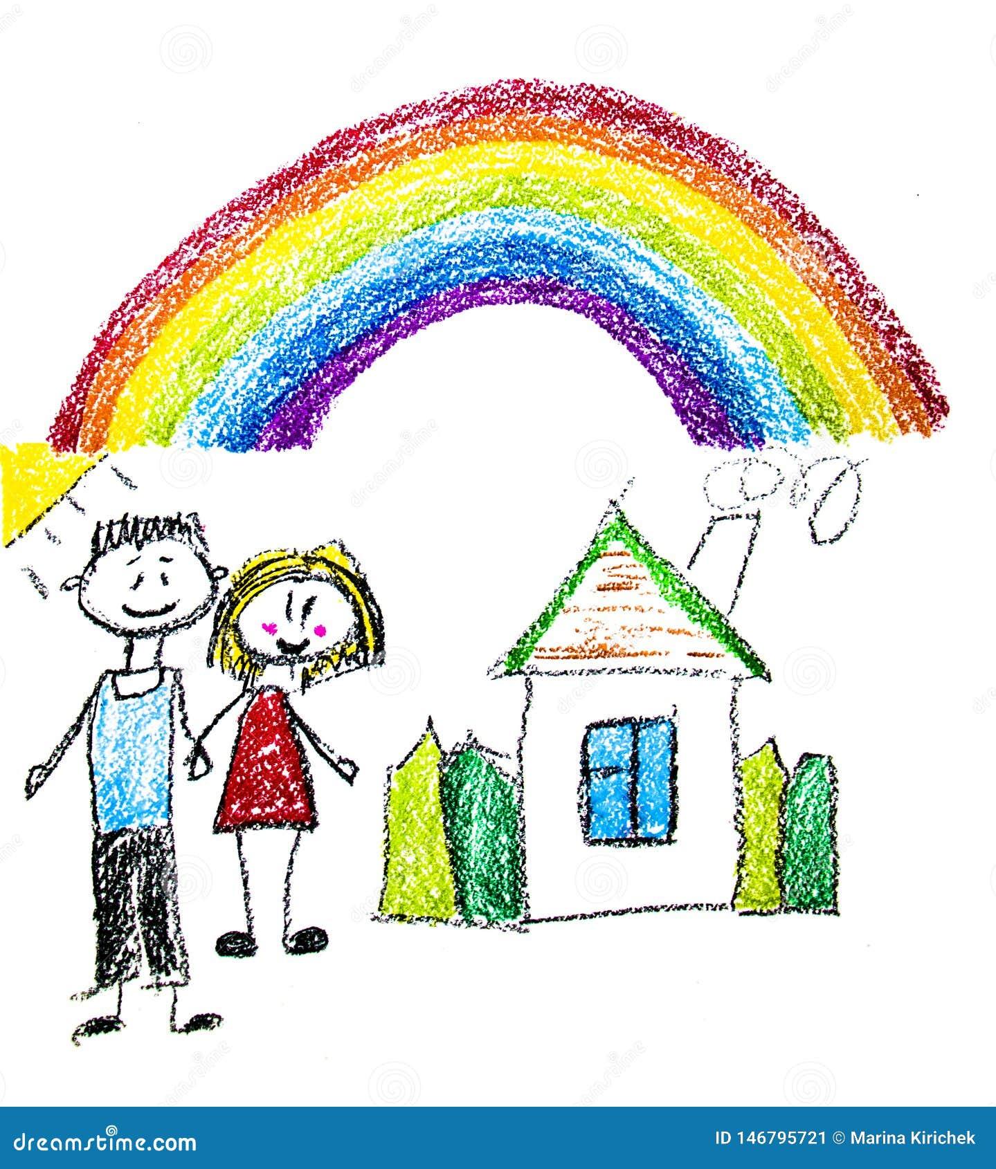 Familia feliz con los peque?os ni?os Madre y padre con los ni?os Brother y hermana con los padres Mi familia con la casa y el arc