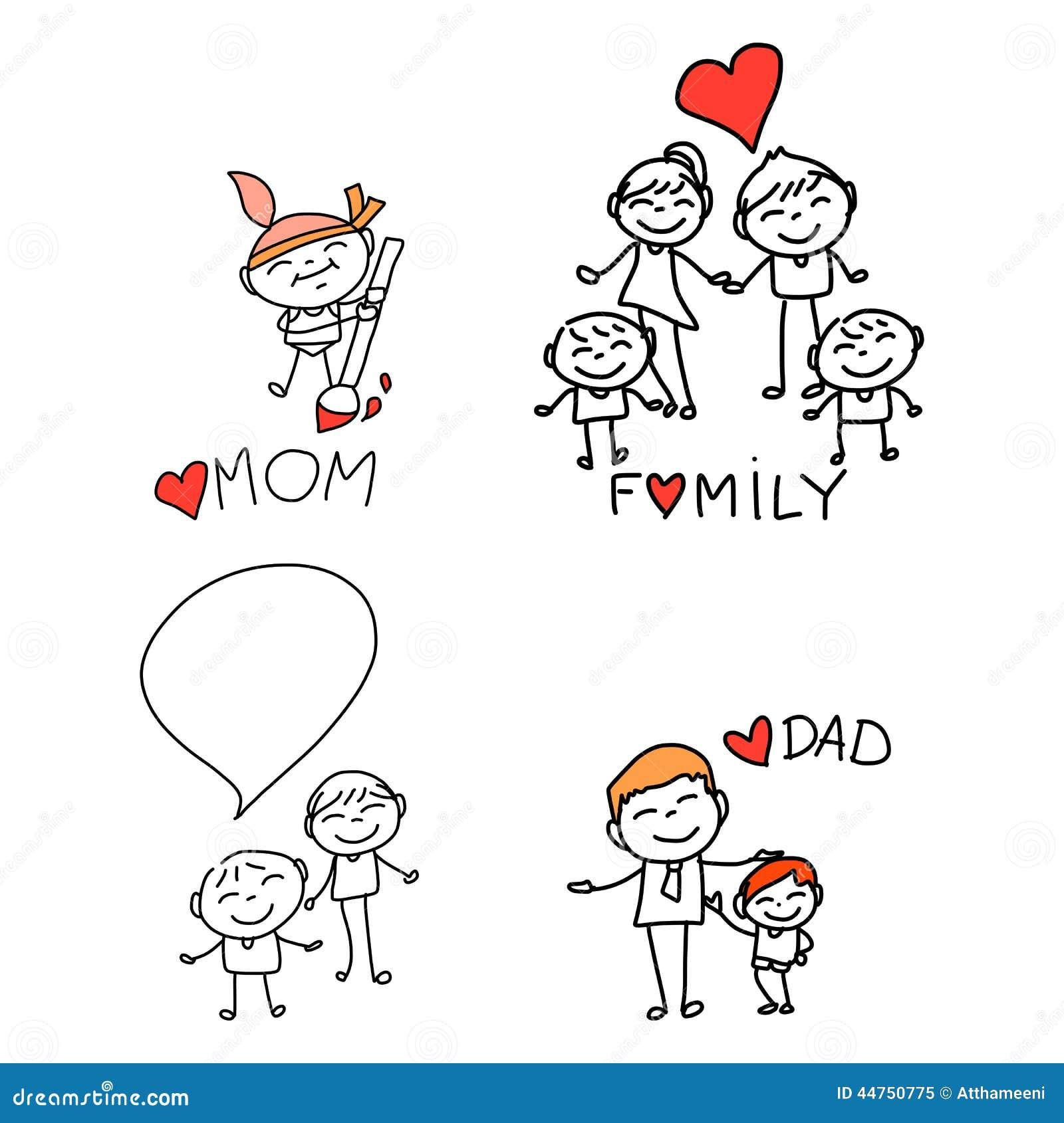 Familia Feliz De La Historieta Del Dibujo De La Mano