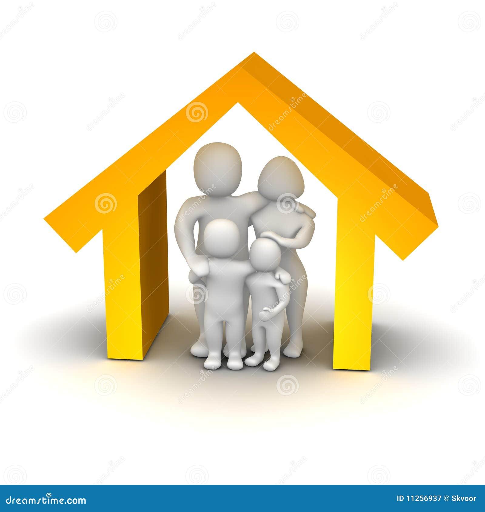 Familia feliz dentro de la casa stock de ilustraci n for Parrilla para dentro de la casa