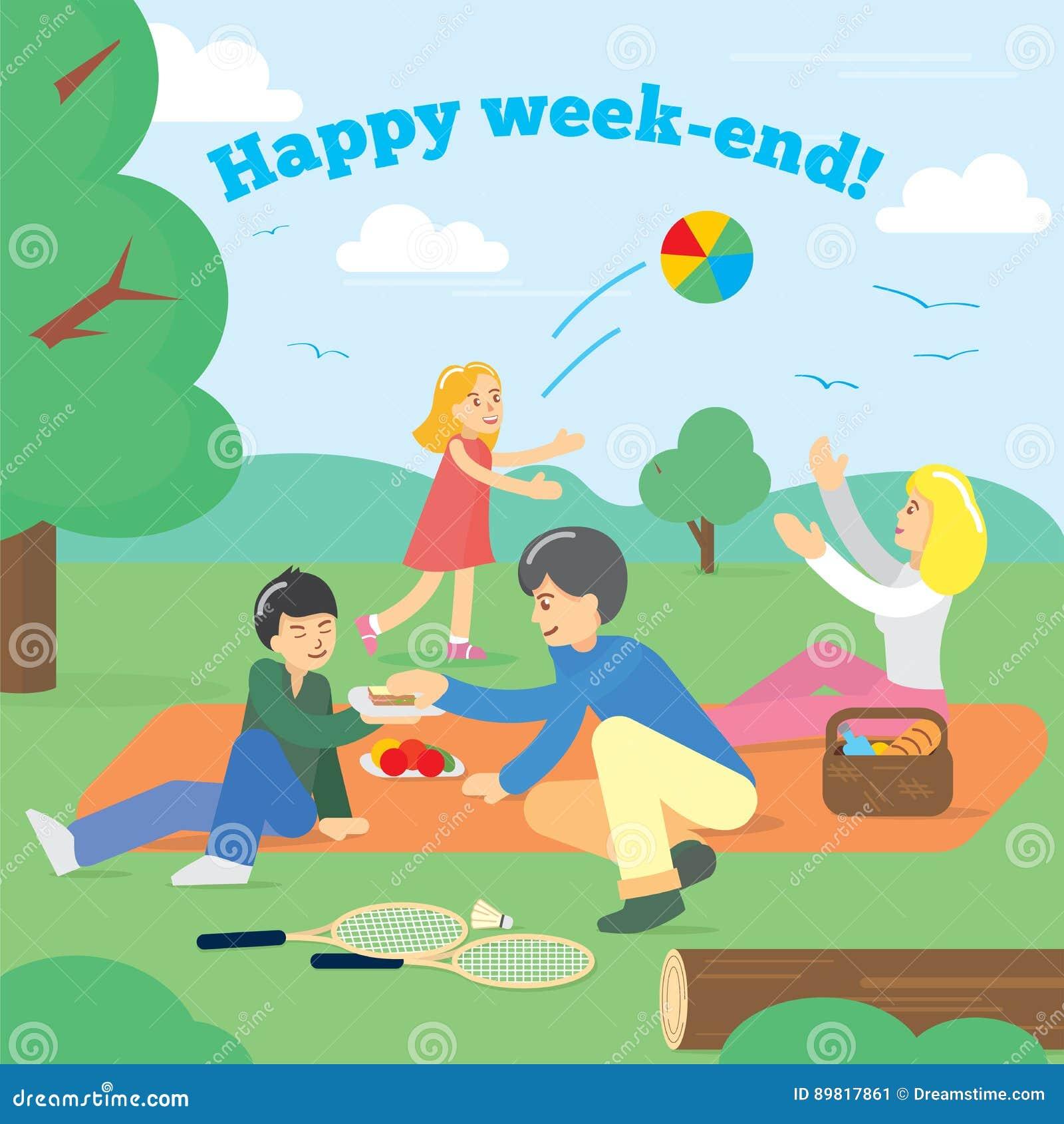 Familia feliz el fin de semana Comida campestre de la familia Comida campestre del partido, comida, verano Ilustración del vector