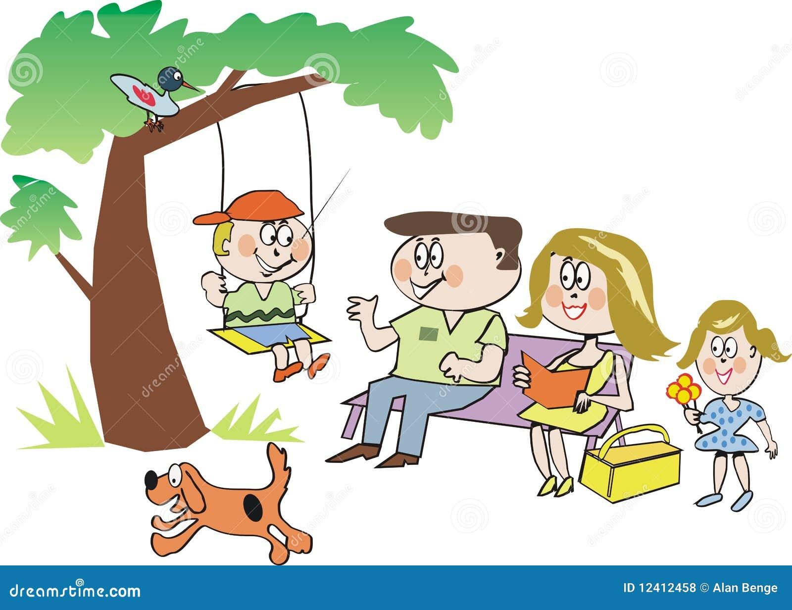 Familia Feliz En Historieta Del Parque Ilustración Del Vector