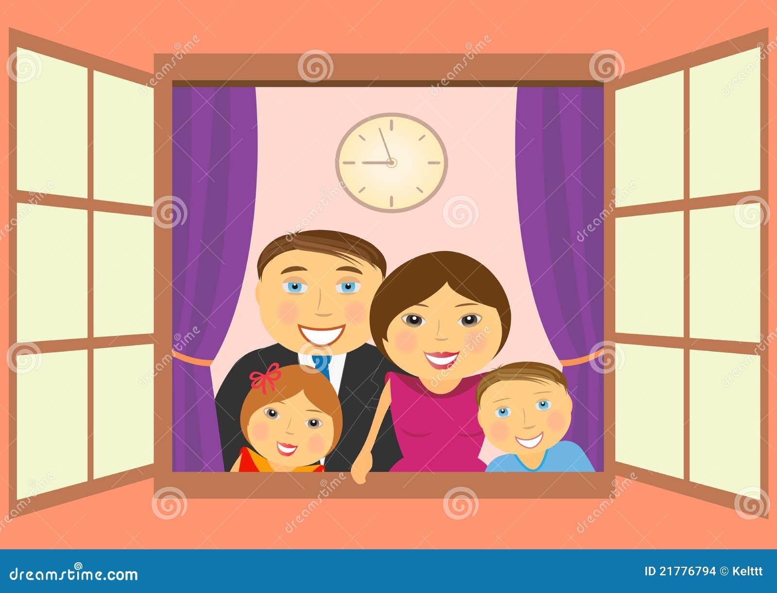 Familia feliz en ventana imagenes de archivo imagen for Par la fenetre ouverte