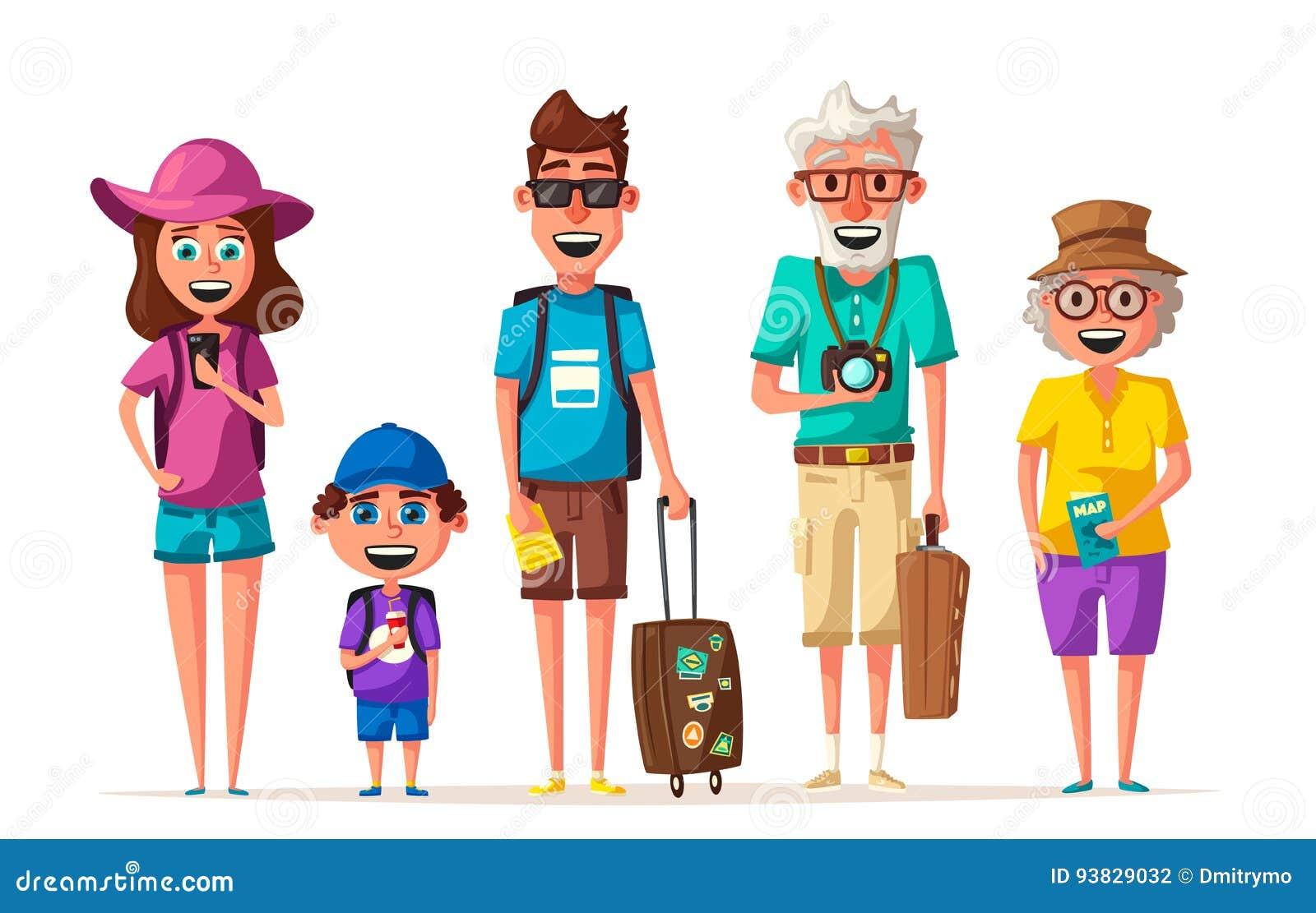 Vector Feliz Viaje Familia: Familia Feliz En Viaje Viaje De Padres Y Del Niño