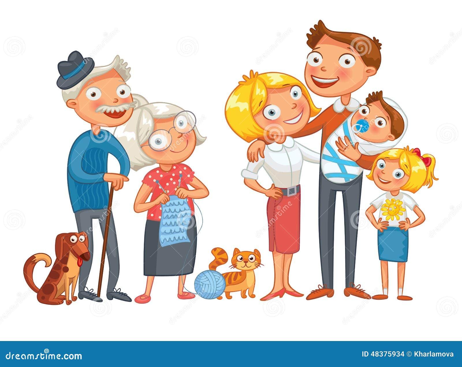 Картинка семьи нарисованная