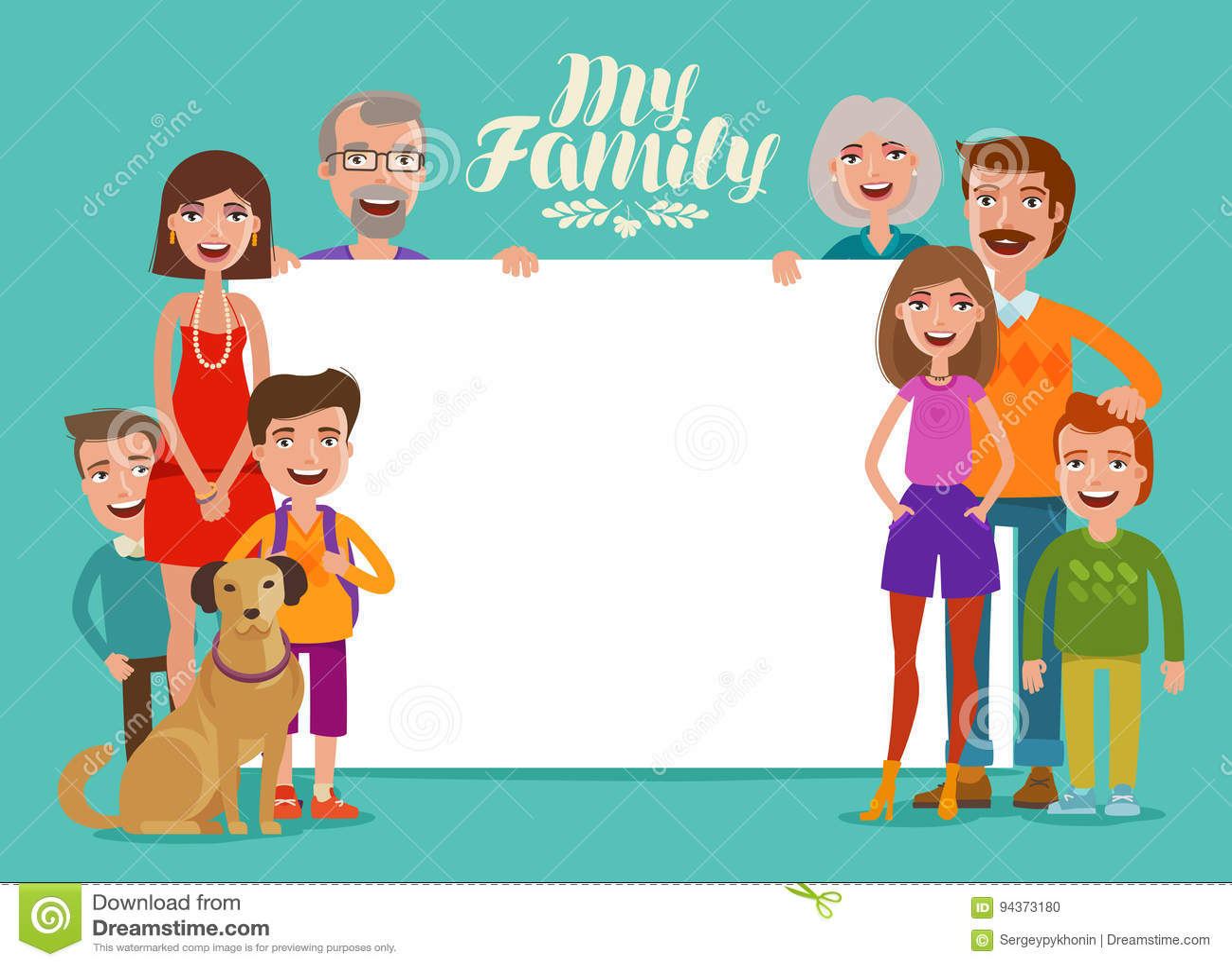 Familia Feliz Grande, Bandera Gente, Padres Y Niños Plantilla Del ...