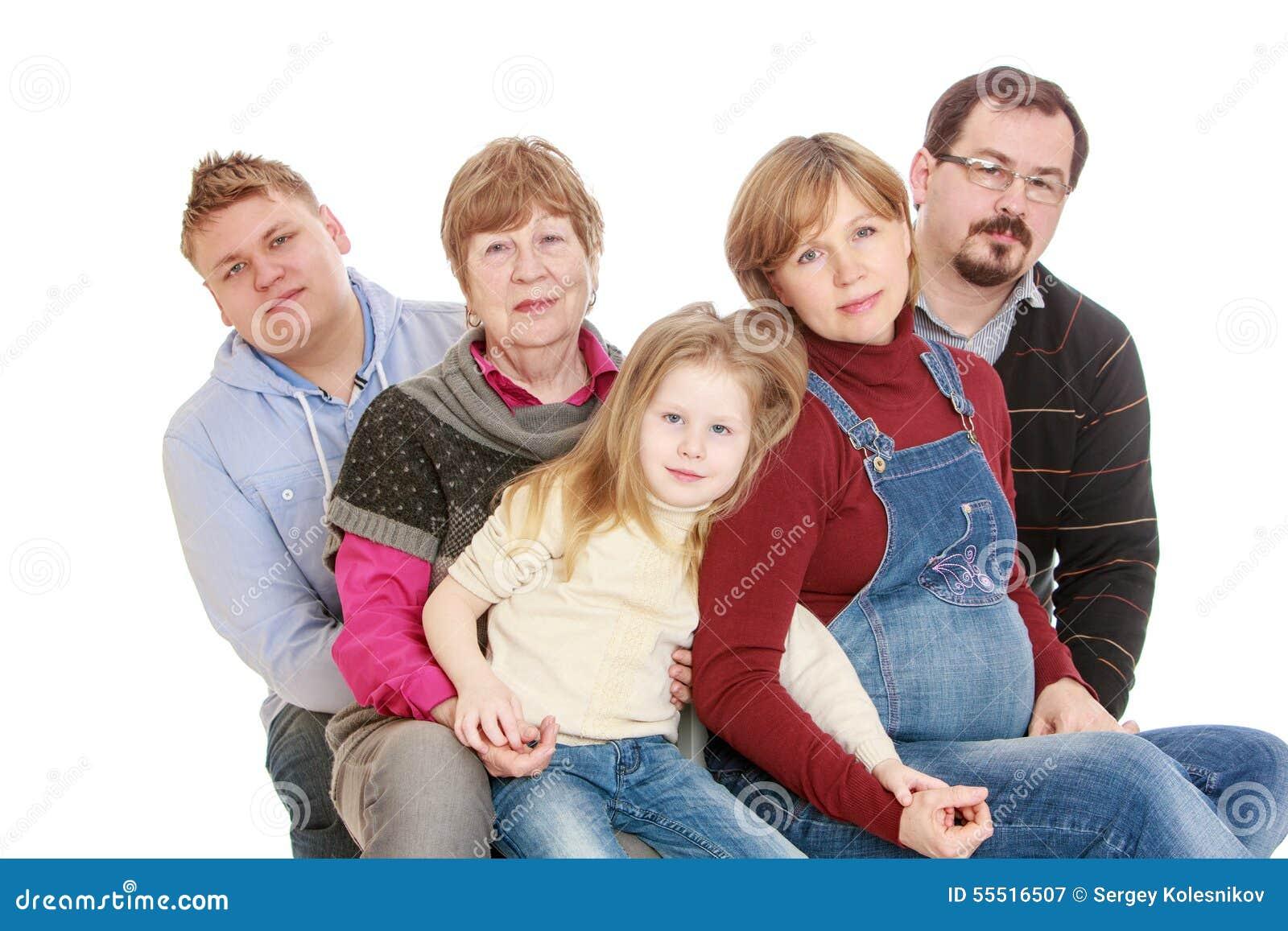 Familia feliz grande de la abuela de 5 personas a imagen for Cocinar para 5 personas