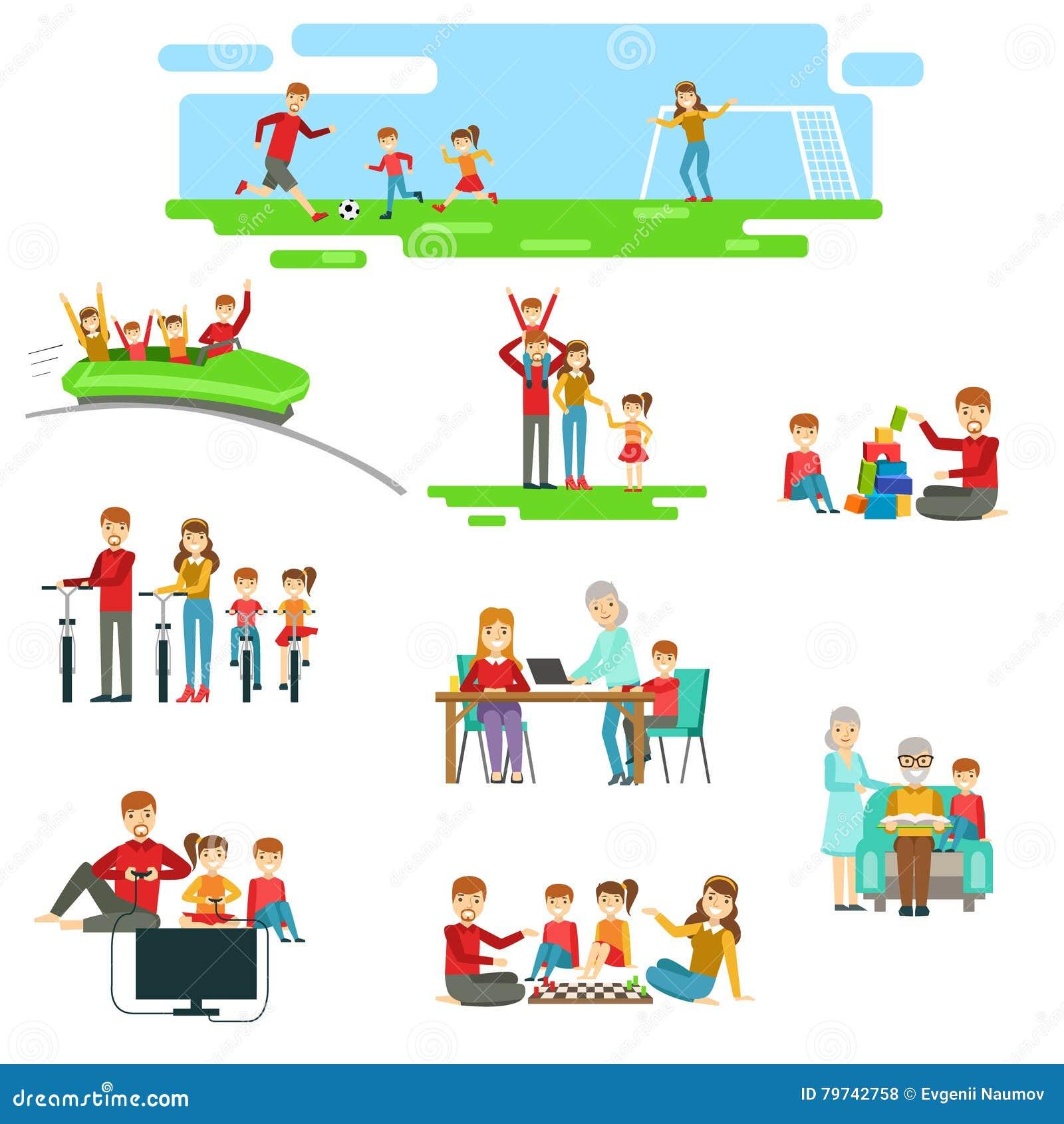 Familia feliz que se divierte junto fijada de ejemplos