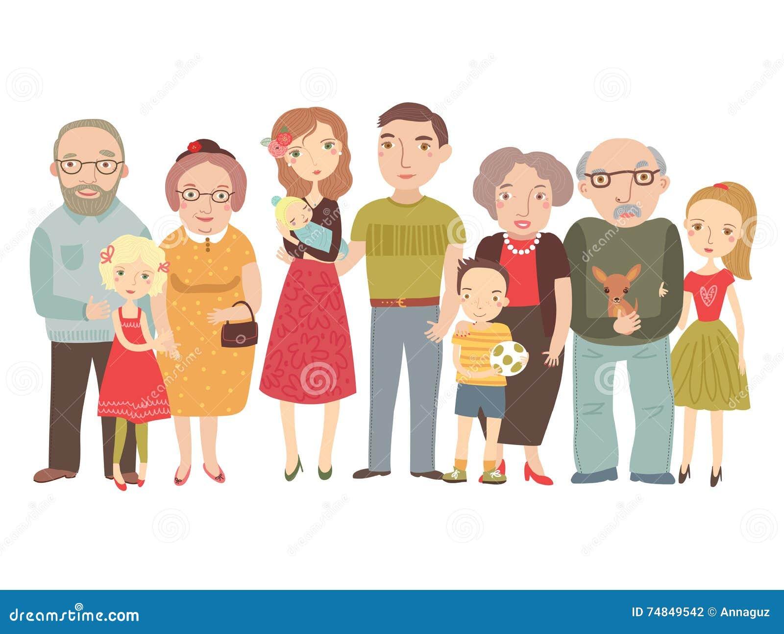 Familia Grande, Mamá, Papá, Niños, Abuelos Ilustración
