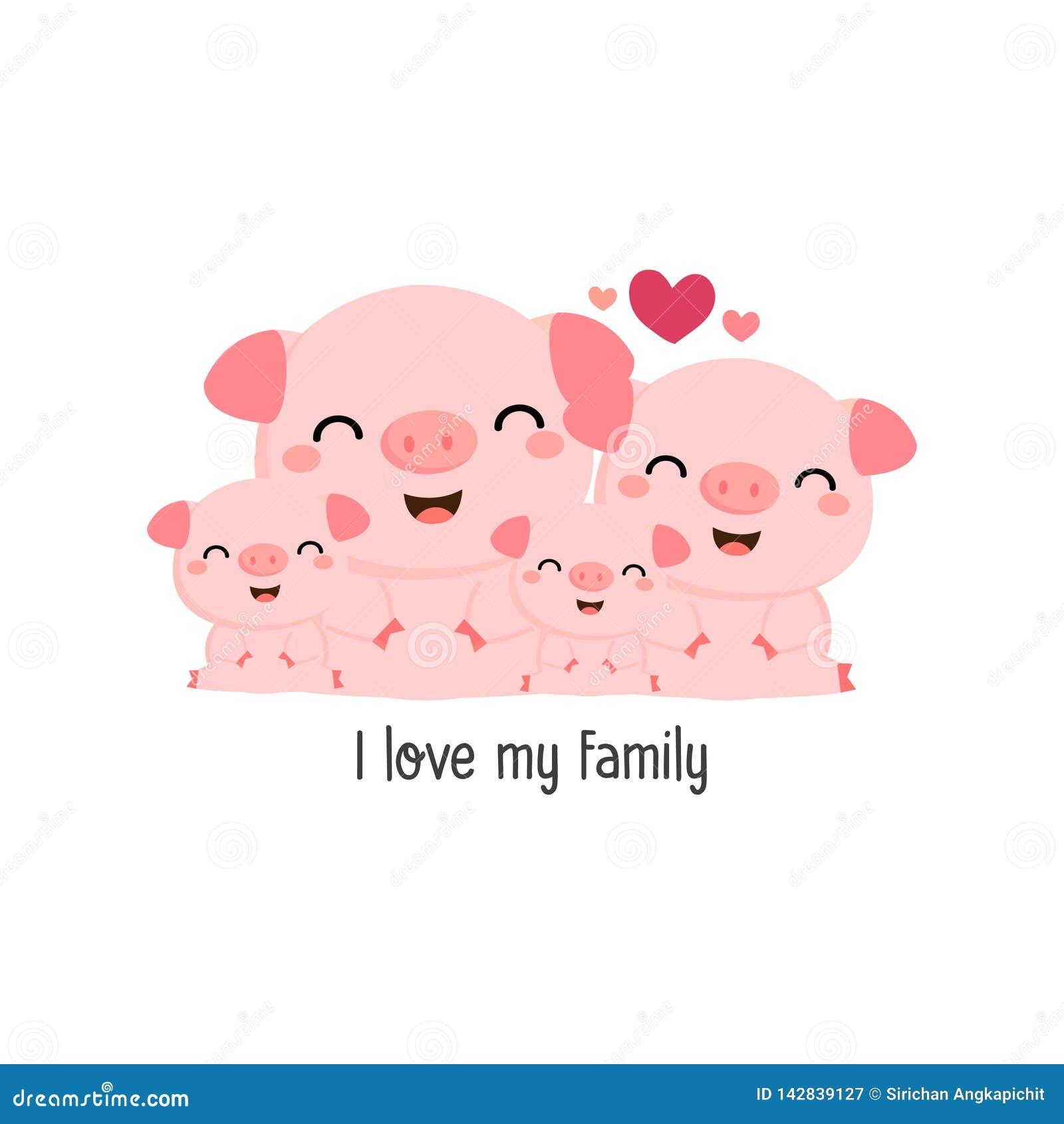 Familia linda del cerdo