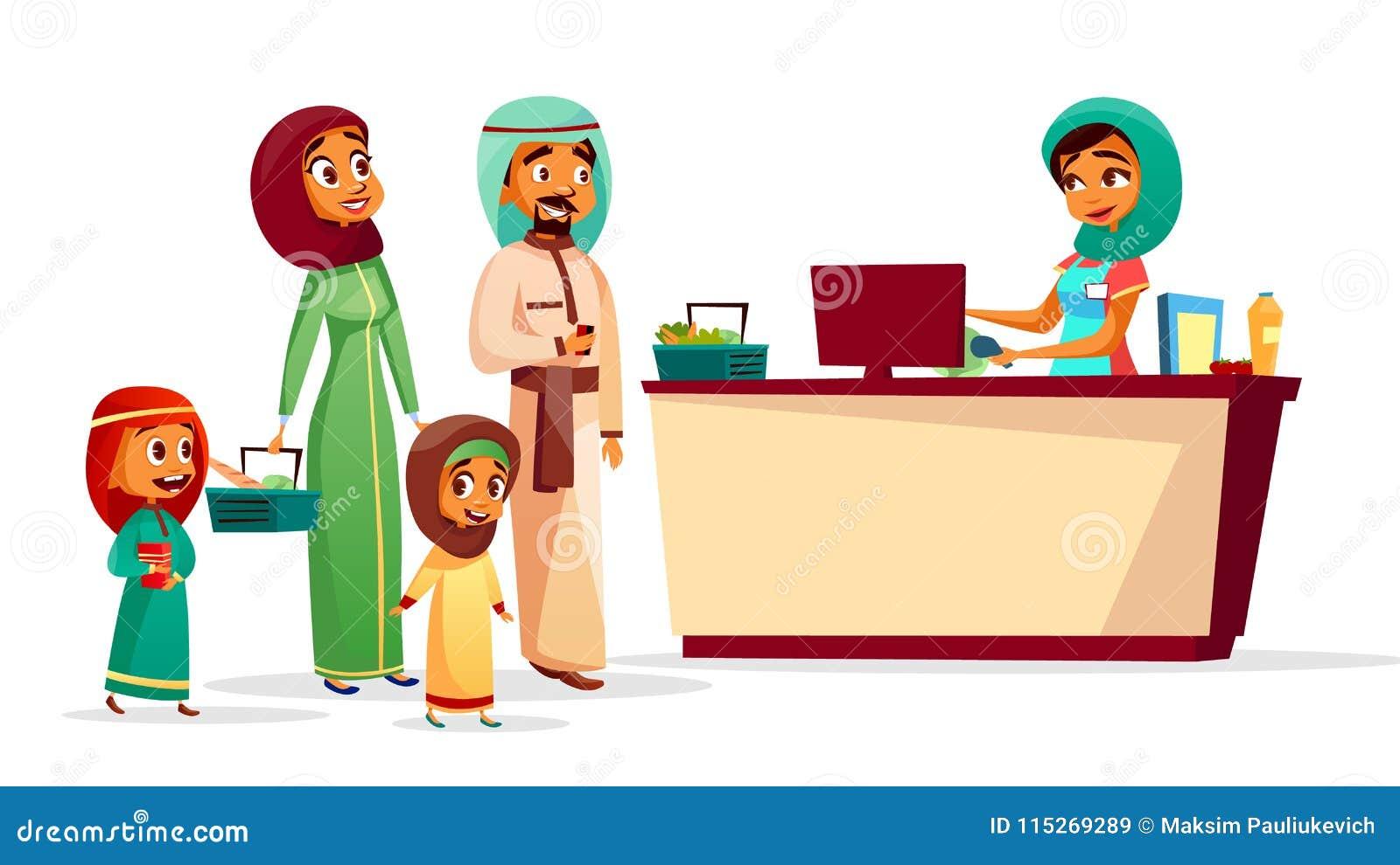 Familia musulmán en el ejemplo de la historieta del vector del contador de pago y envío del supermercado