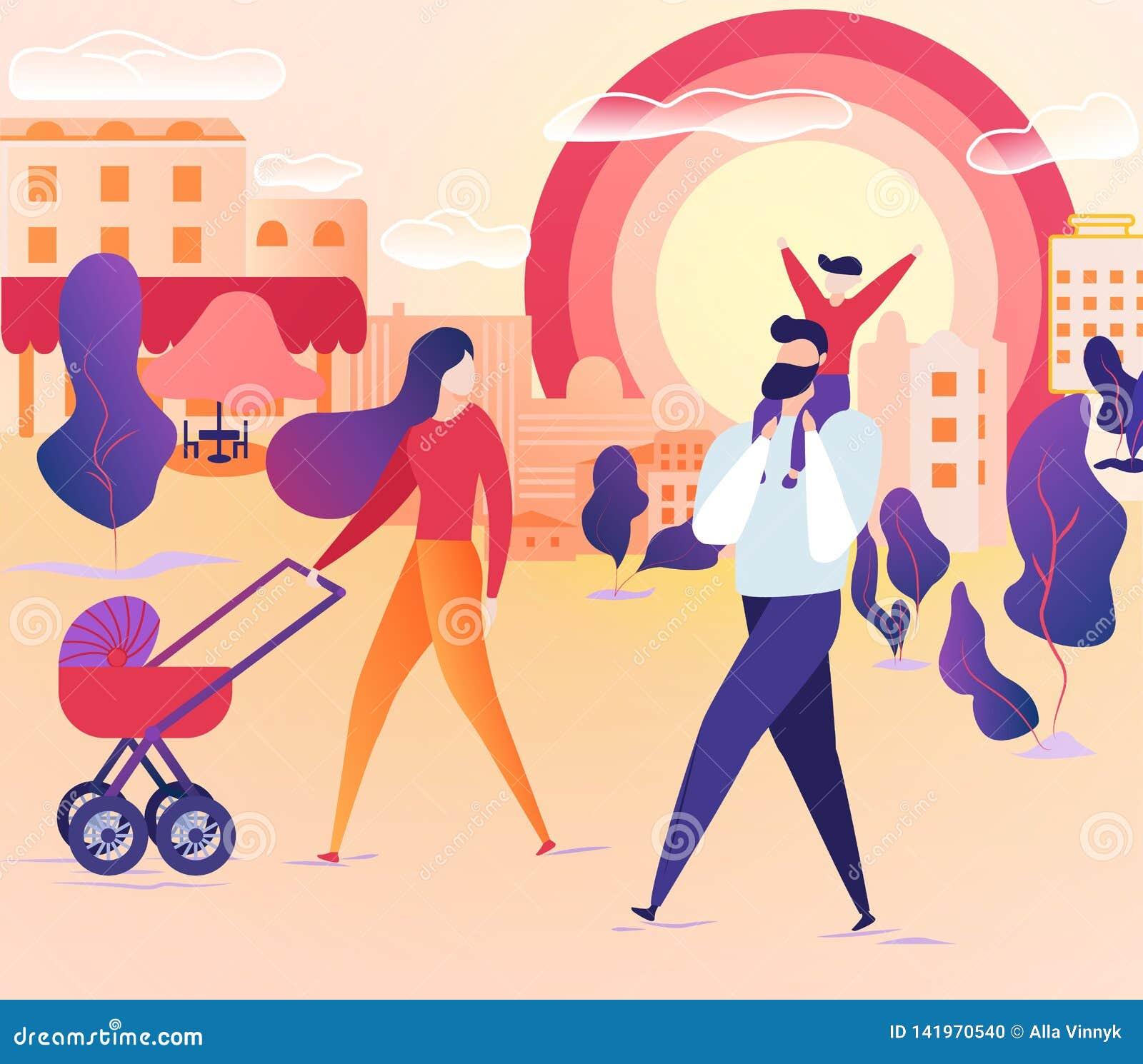 Familia que camina junto en la calle de la ciudad el fin de semana