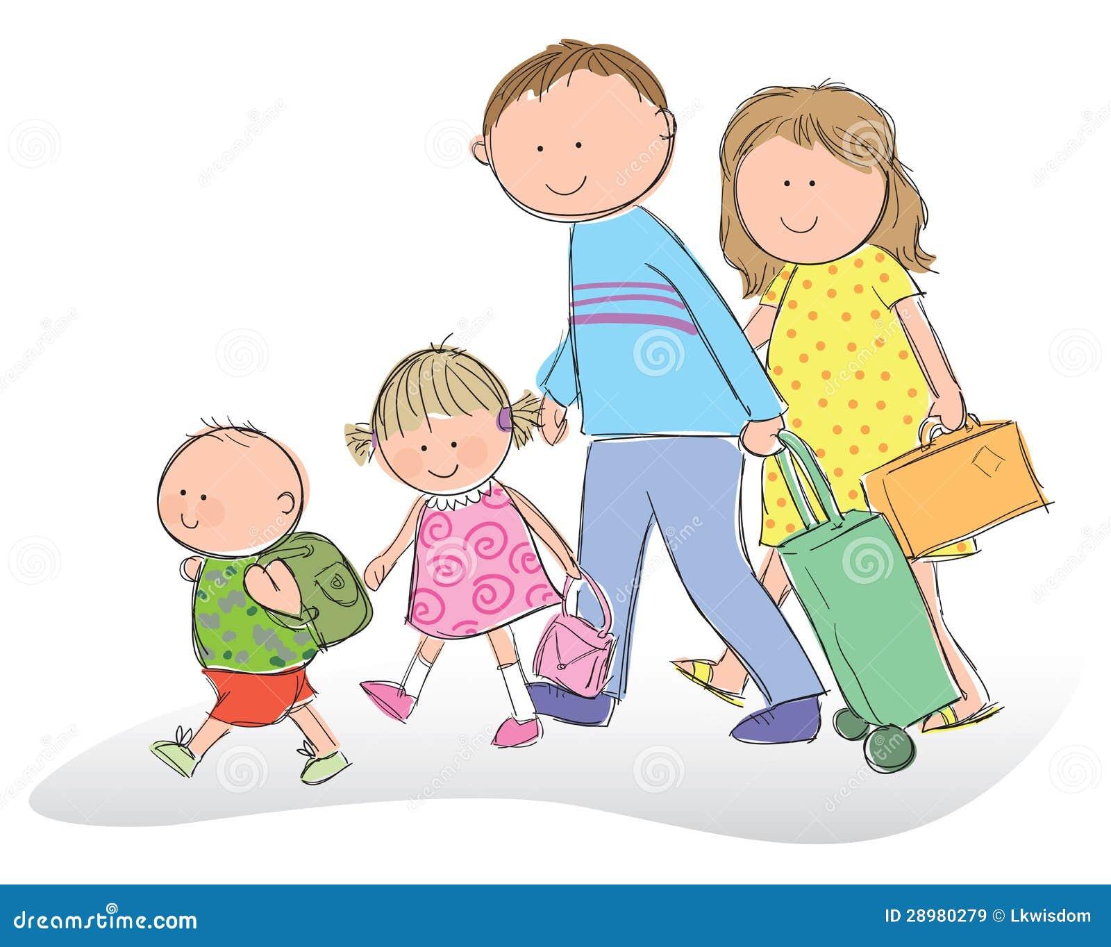Familia que va el vacaciones