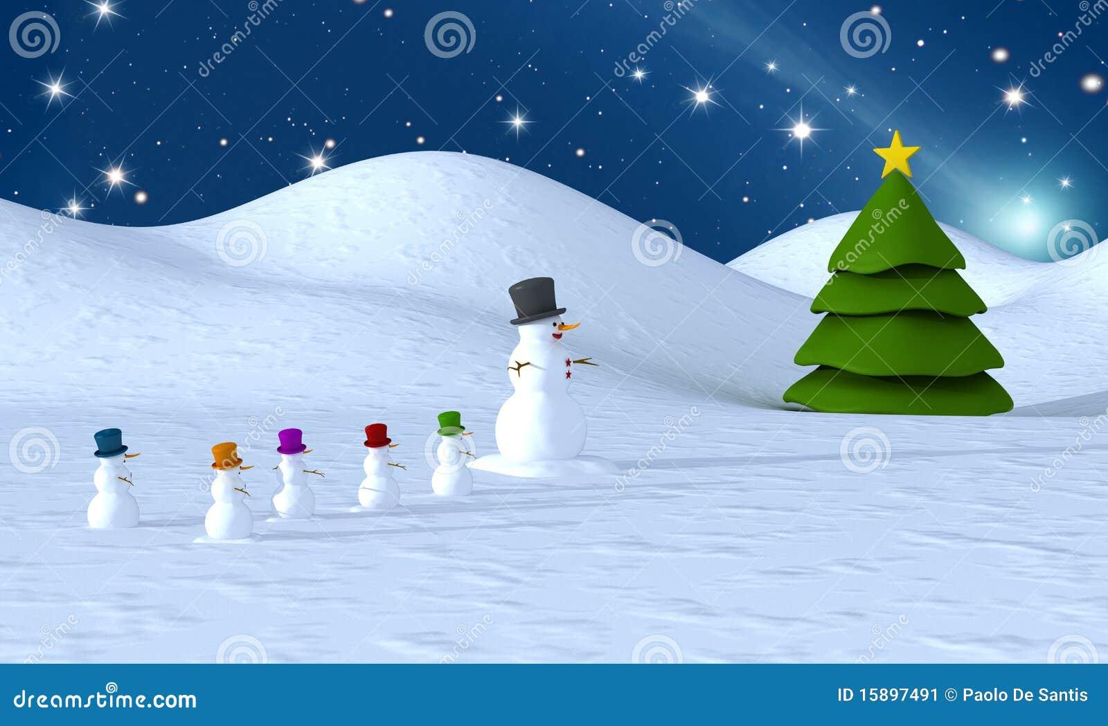 Familia y rbol de navidad del mu eco de nieve imagen de - Arbol navidad nieve ...