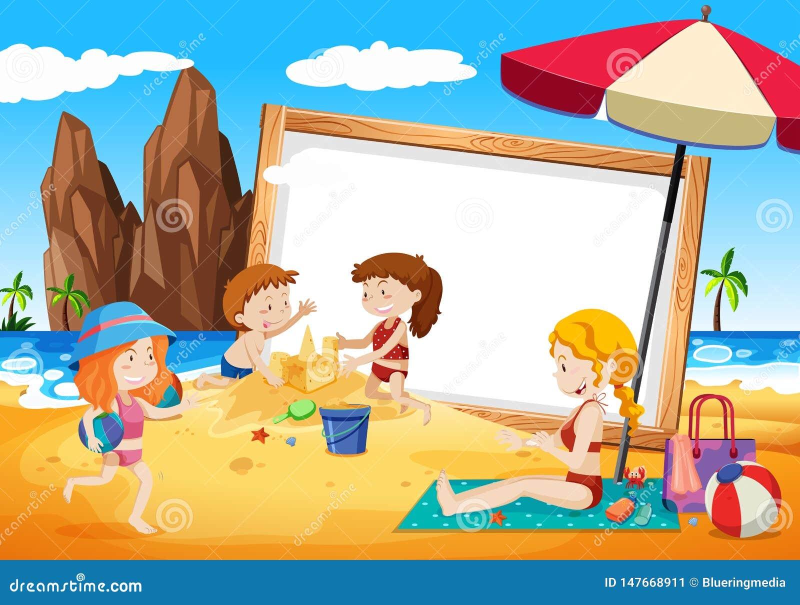 Familias en marco de la playa
