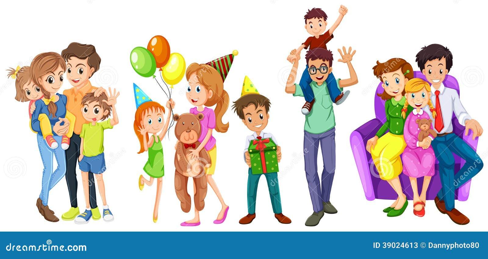 Vector Feliz Viaje Familia: Familias Felices Ilustración Del Vector