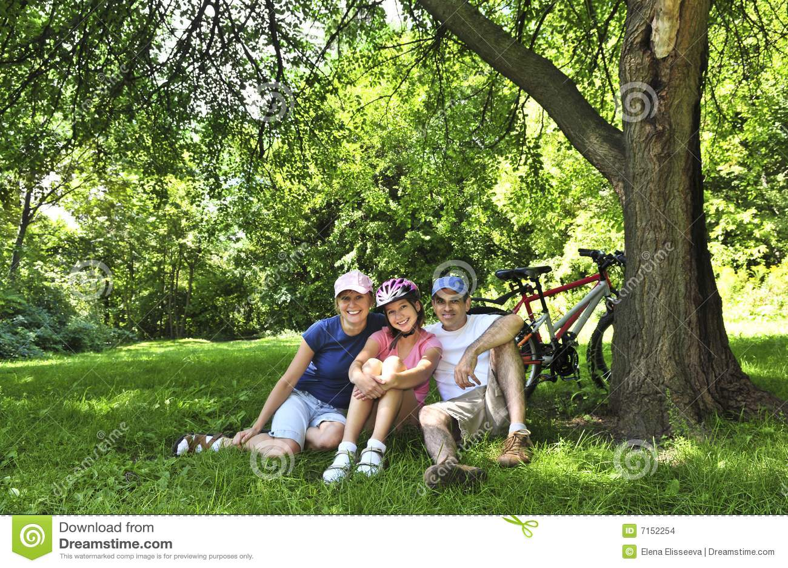 Familie die in een park rust